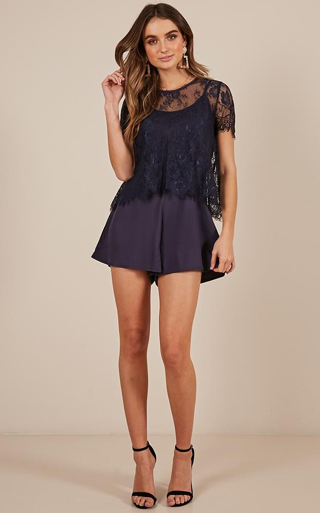 She is Always Right Playsuit in navy lace - 12 (L), Navy, hi-res image number null