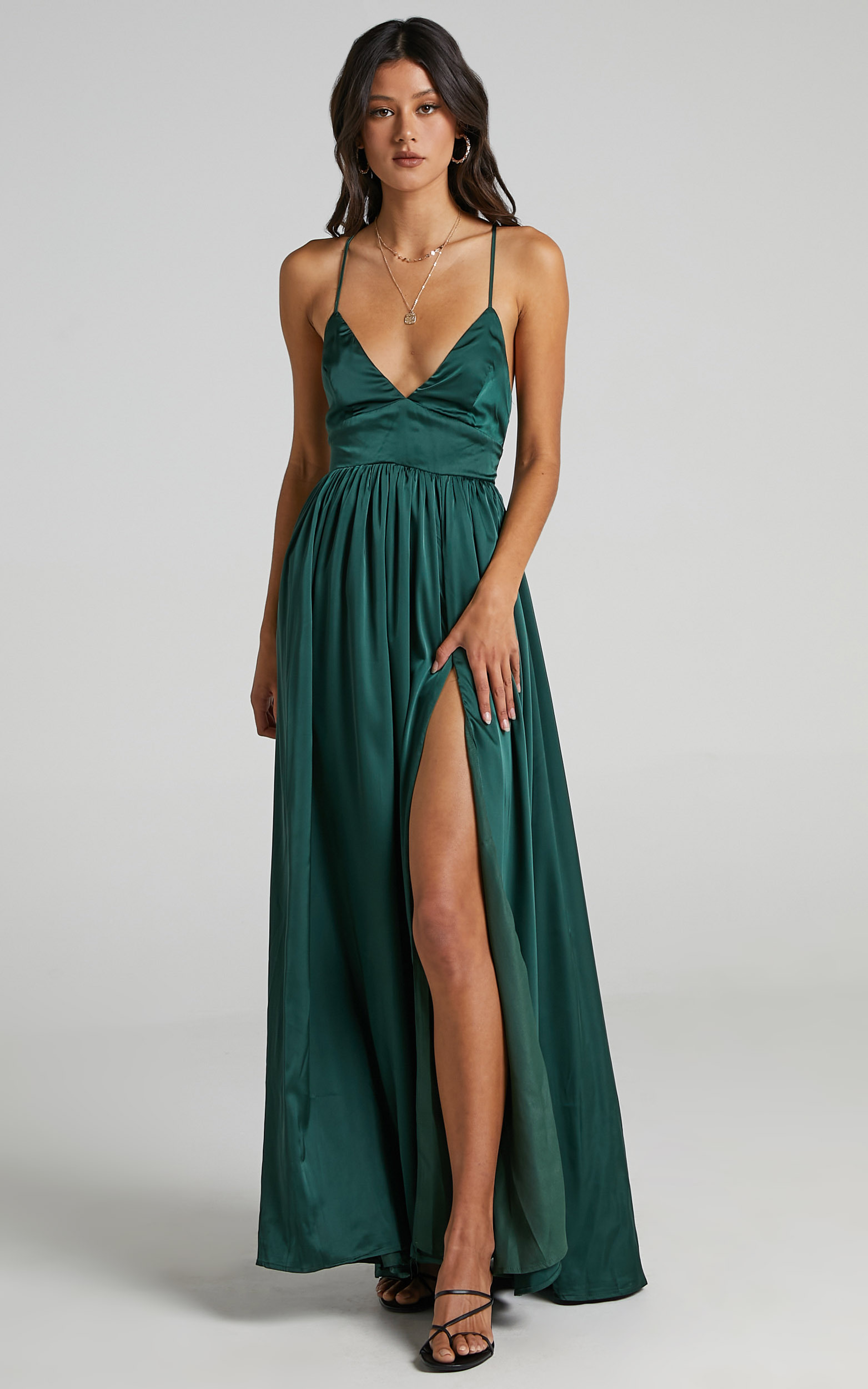 I Want The World To Know Dress in Emerald Satin - 14, GRN4, hi-res image number null