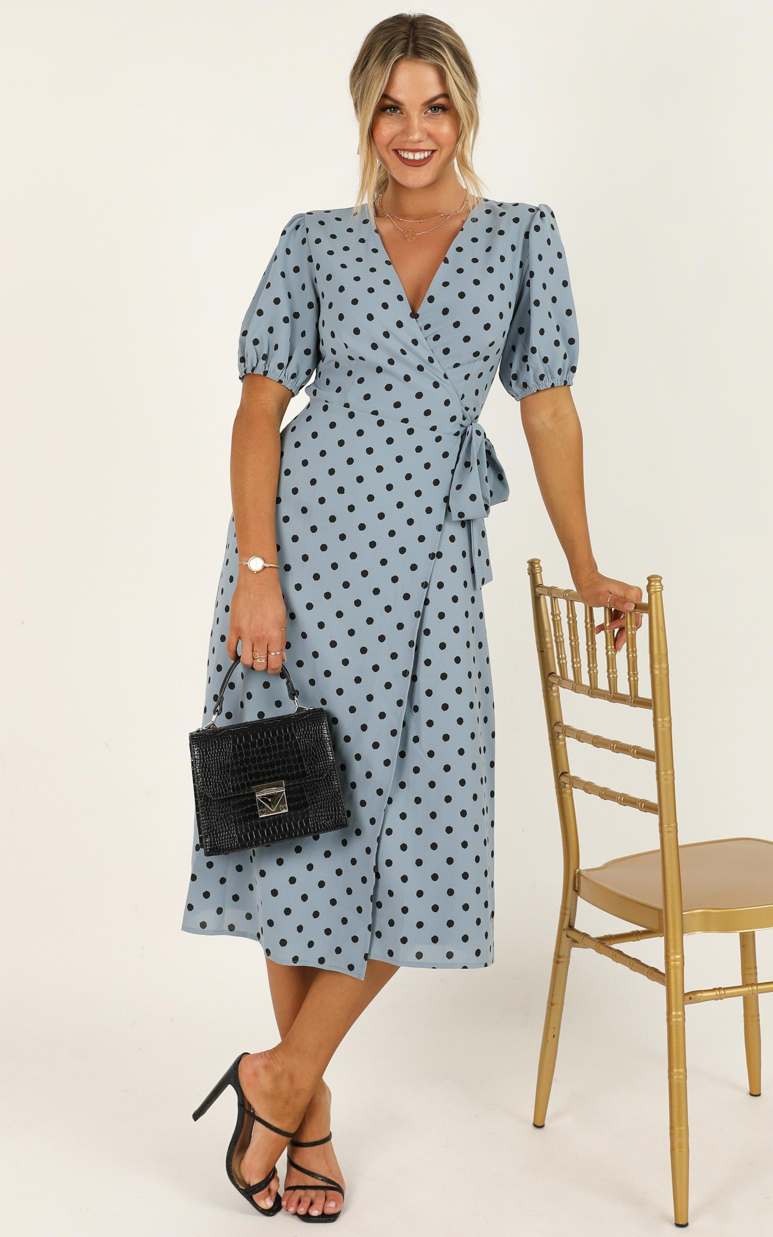 Taking Shortcuts Dress in blue polka - 20 (XXXXL), Blue, hi-res image number null