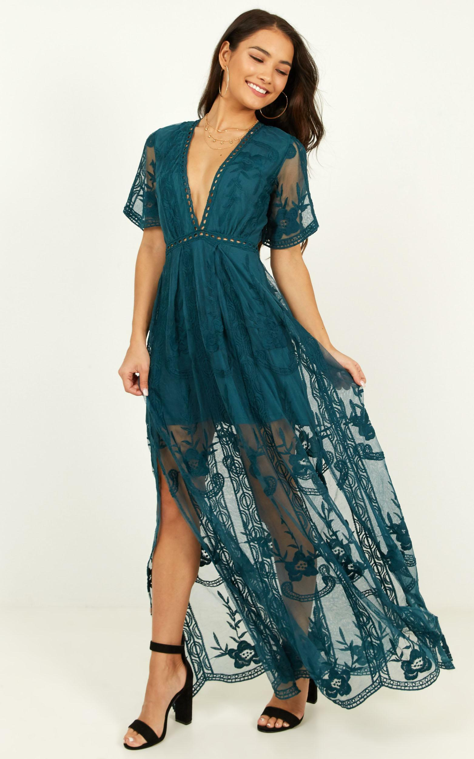 Love Spell Maxi dress in emerald lace - 20 (XXXXL), Green, hi-res image number null
