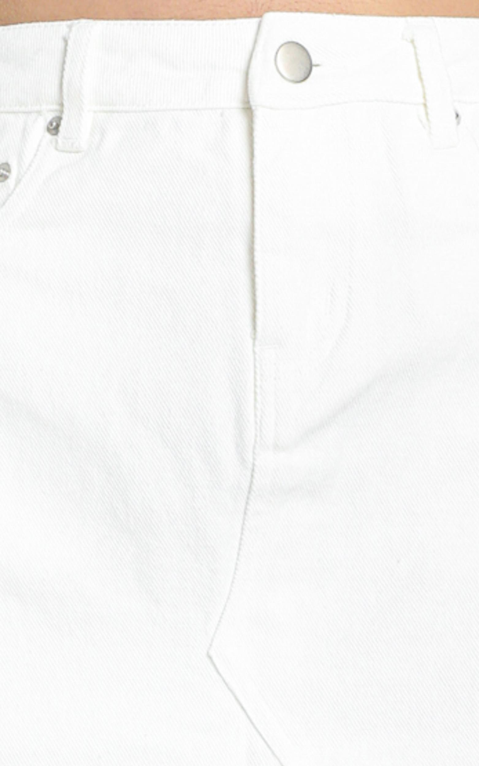 Notch Mini Skirt in White Denim - 6 (XS), White, hi-res image number null