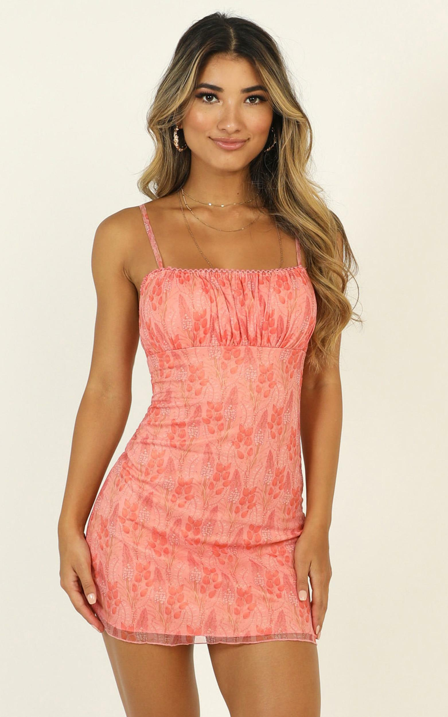 Walls Caving In Dress in Peach Print - 06, PNK1, hi-res image number null