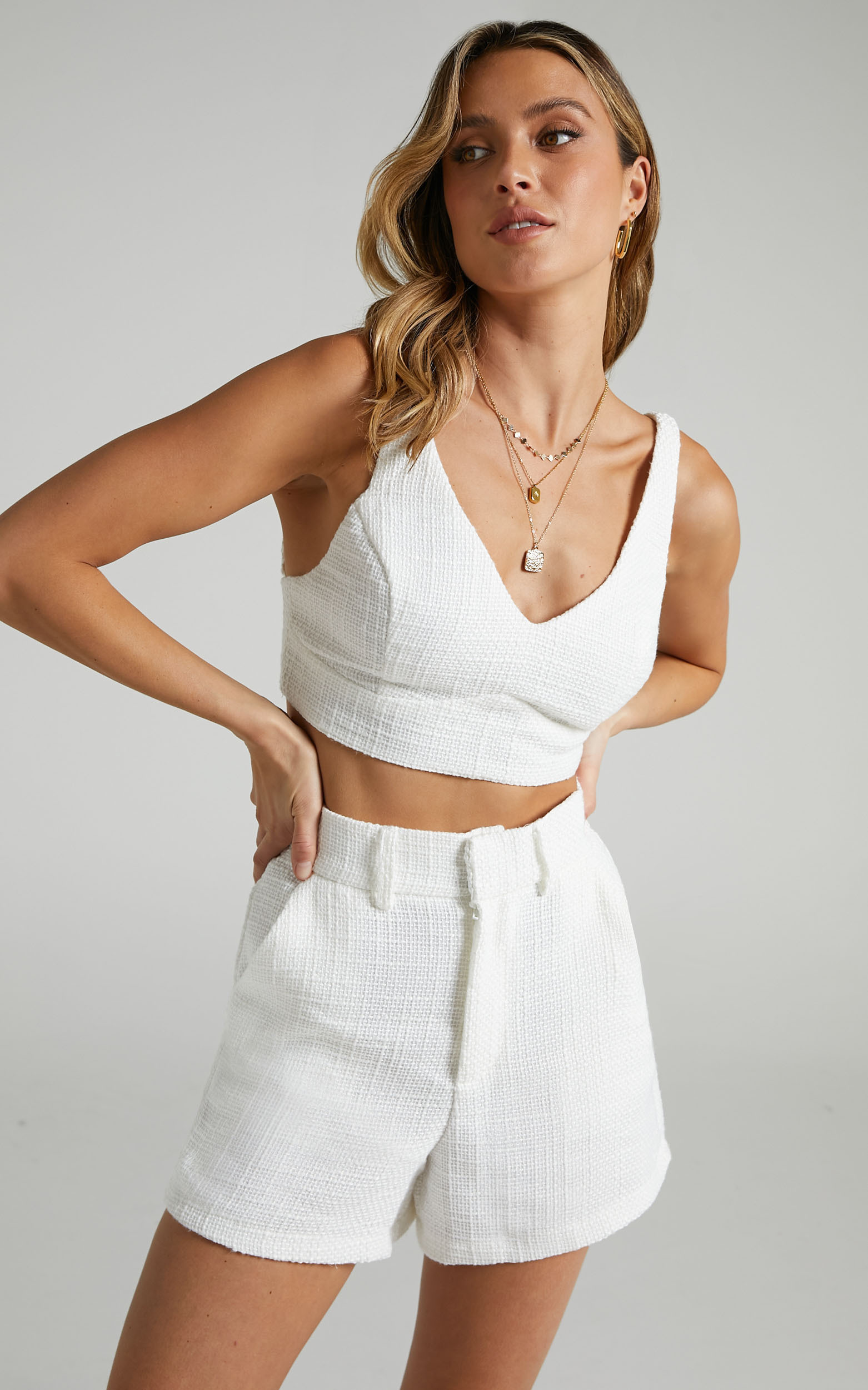 Melbourne Twill Two Piece Short Set in White - 06, WHT3, hi-res image number null
