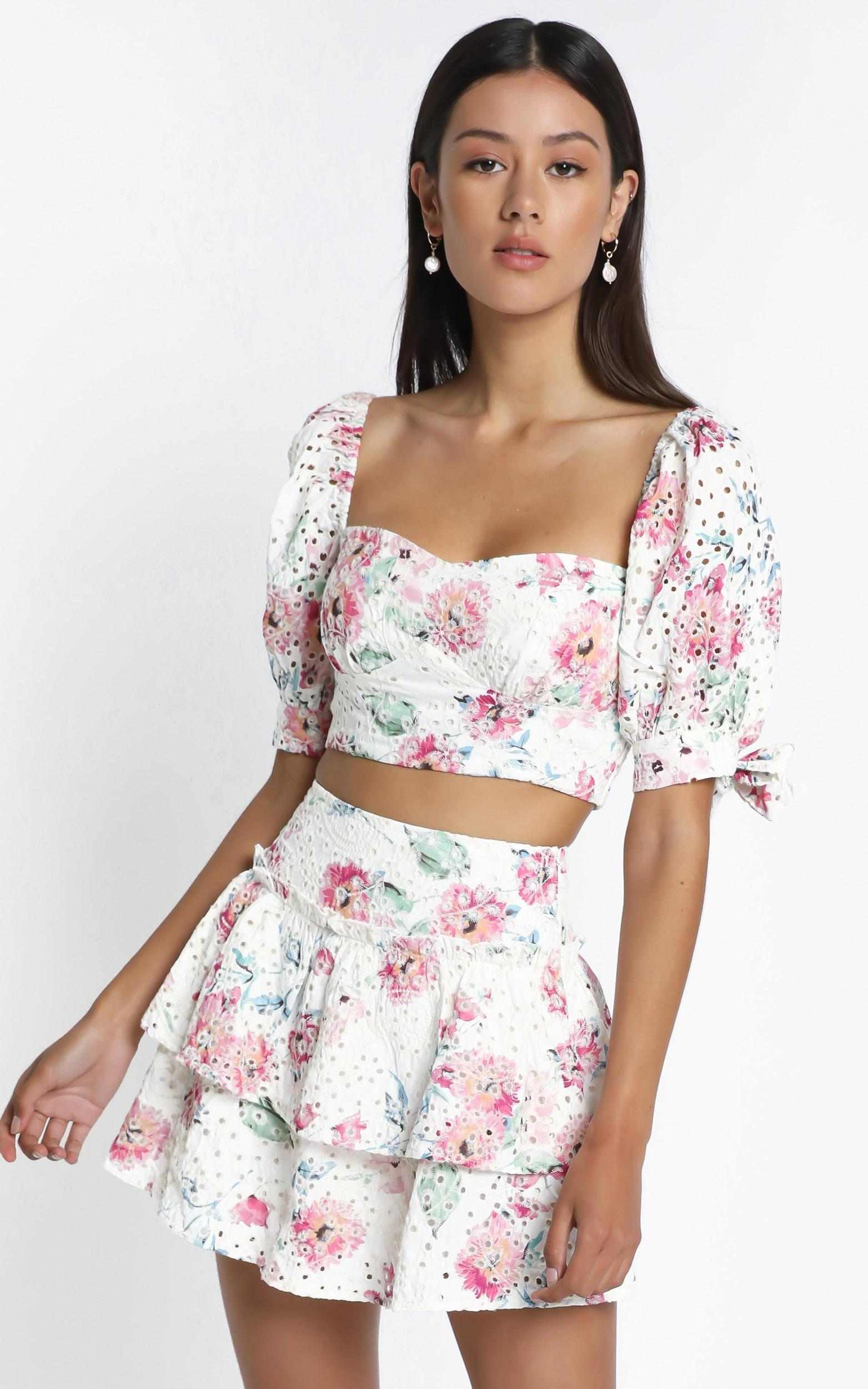 Junee Top in  White Floral - 14 (XL), White, hi-res image number null