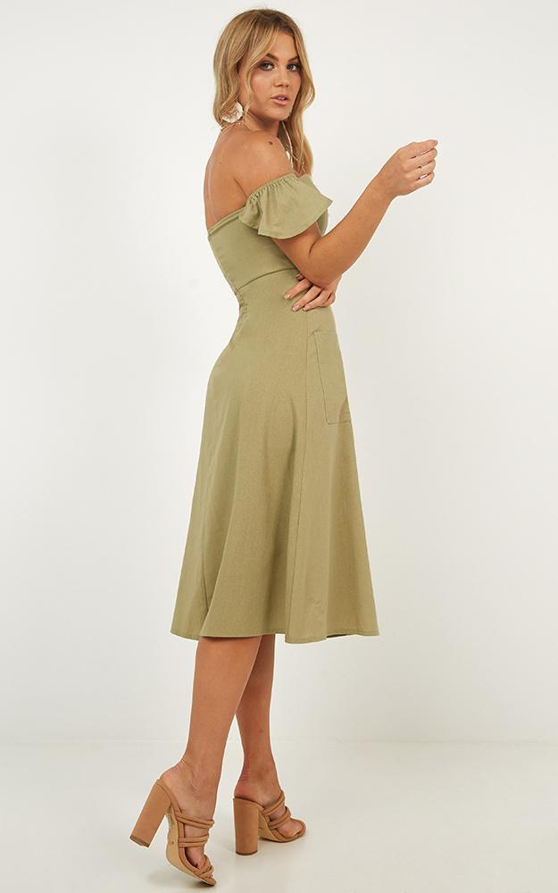 Chase The Stars Dress in khaki linen look - 14 (XL), Khaki, hi-res image number null