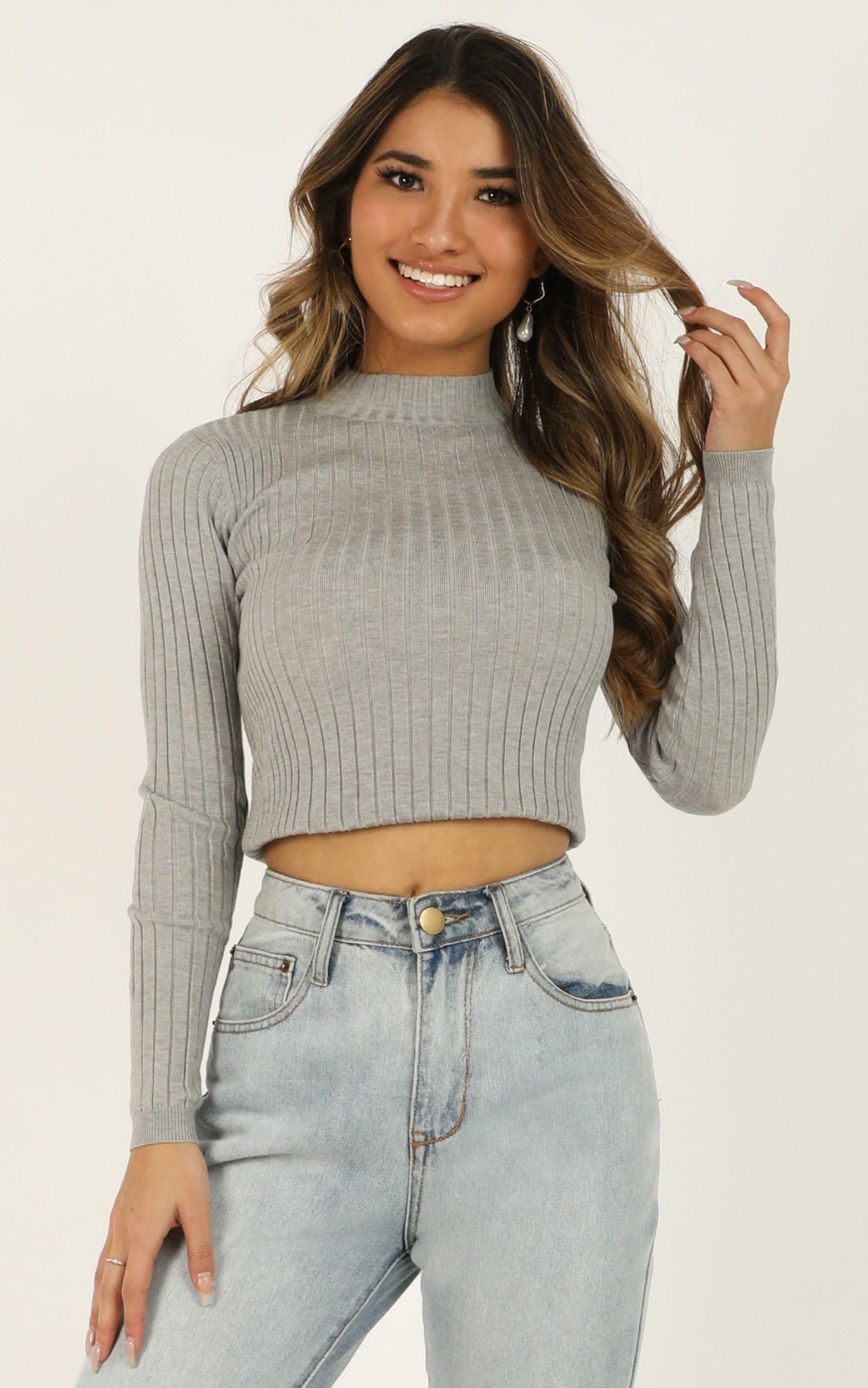 Downtown dreams knit top in grey - 8 (S), Grey, hi-res image number null
