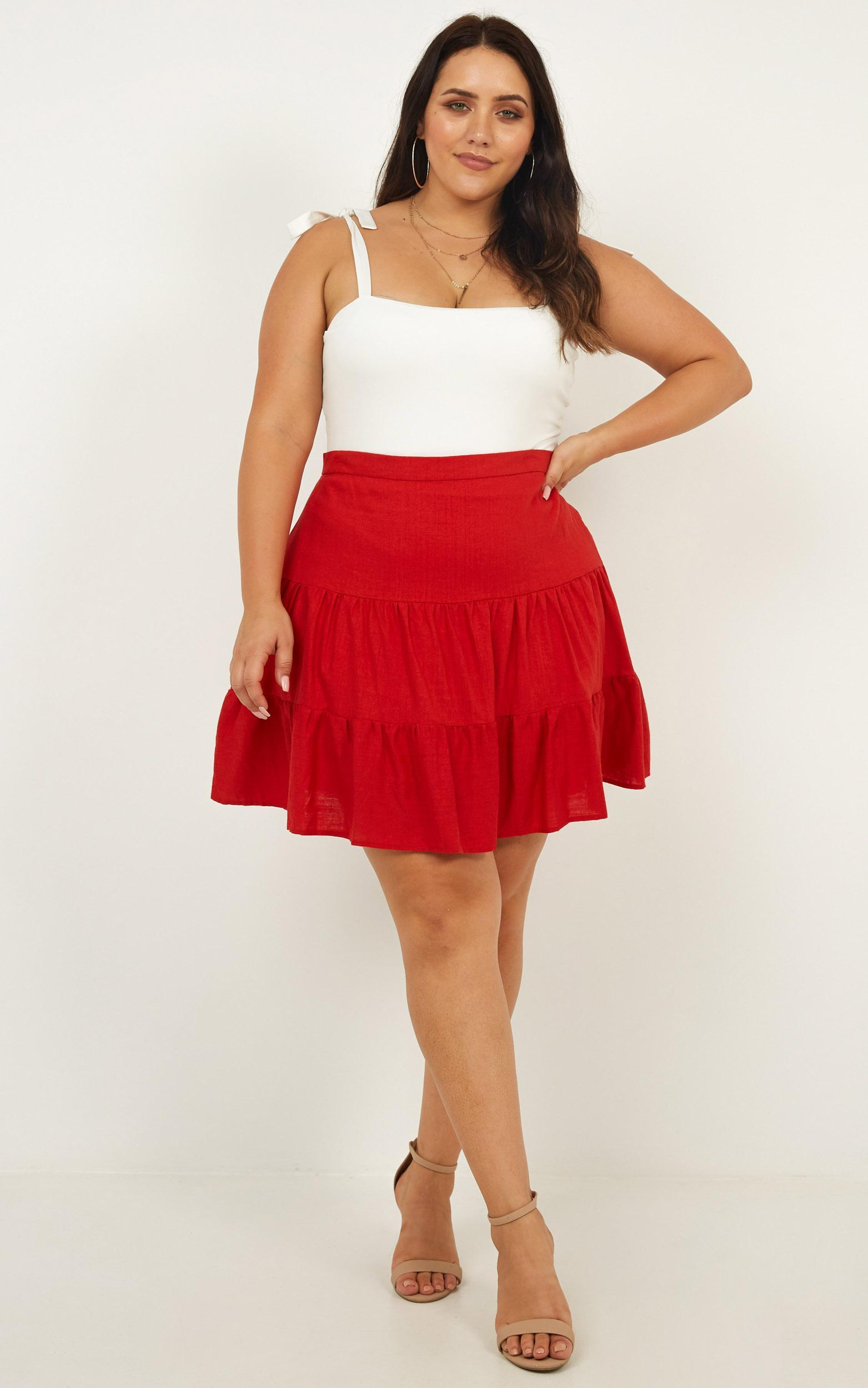 Summer Ready Skirt in Red Linen Look - 12, RED4, hi-res image number null