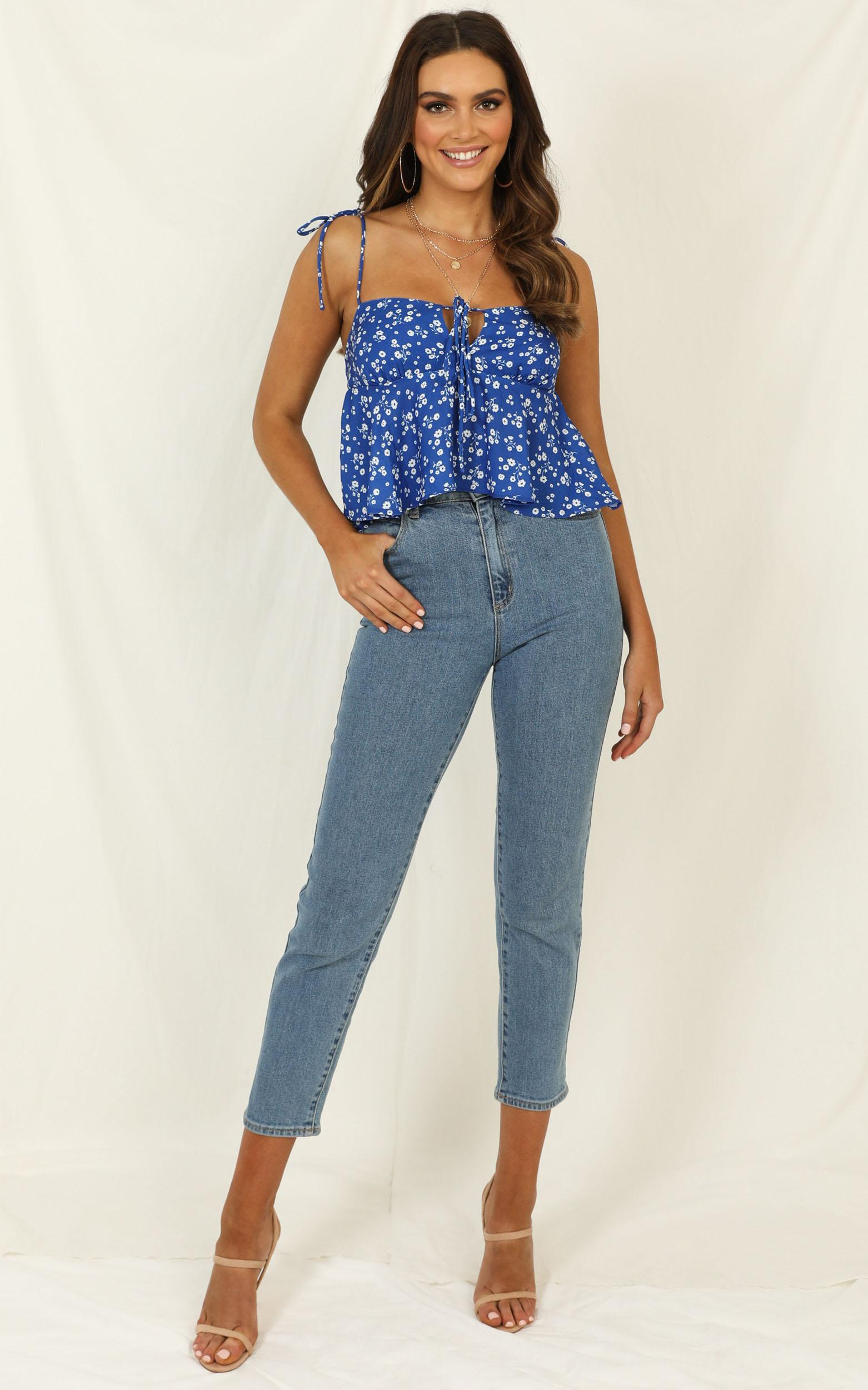 Aint No Sweetie top In blue floral - 12 (L), Blue, hi-res image number null