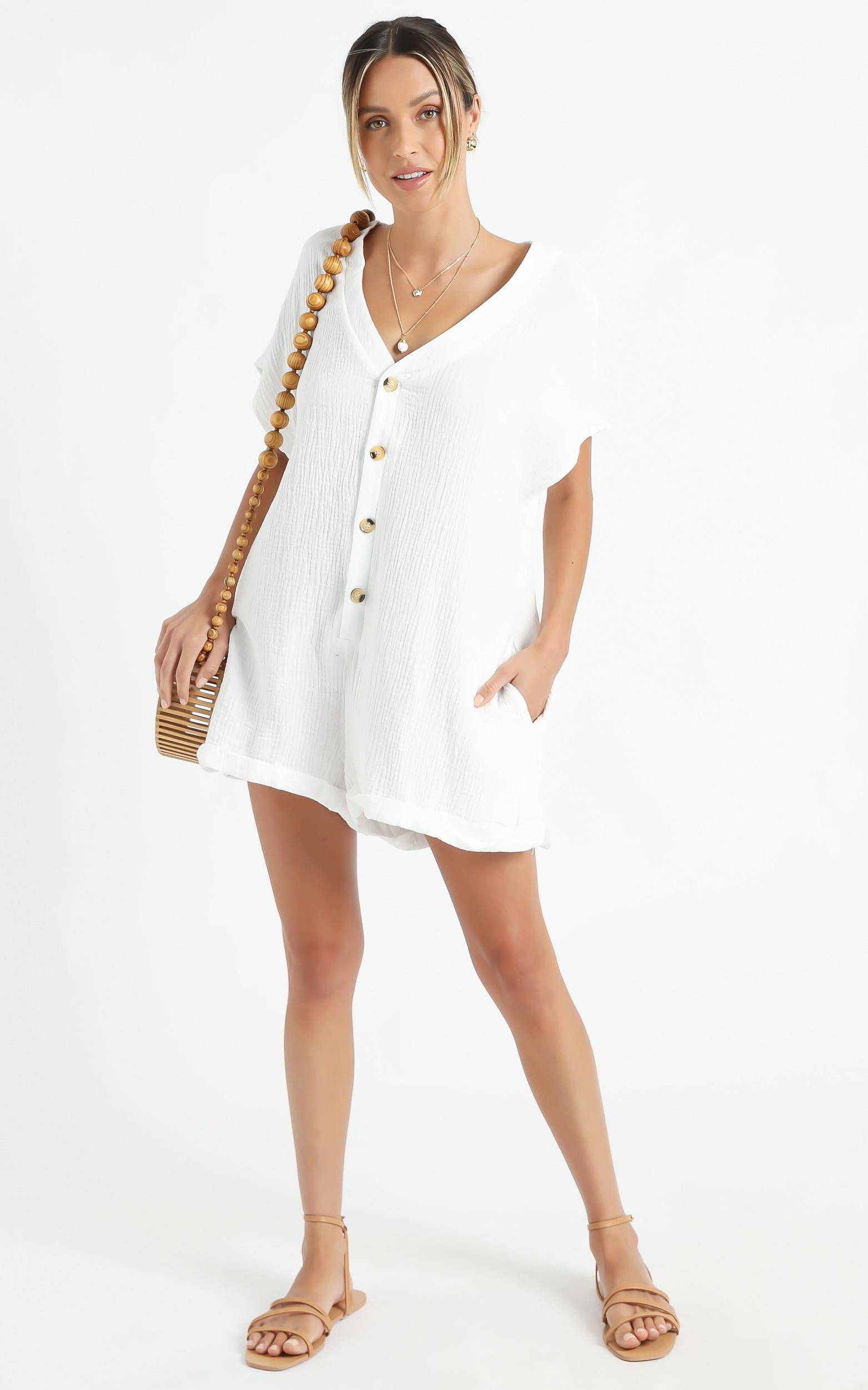 Angelie Playsuit in White - 6 (XS), White, hi-res image number null