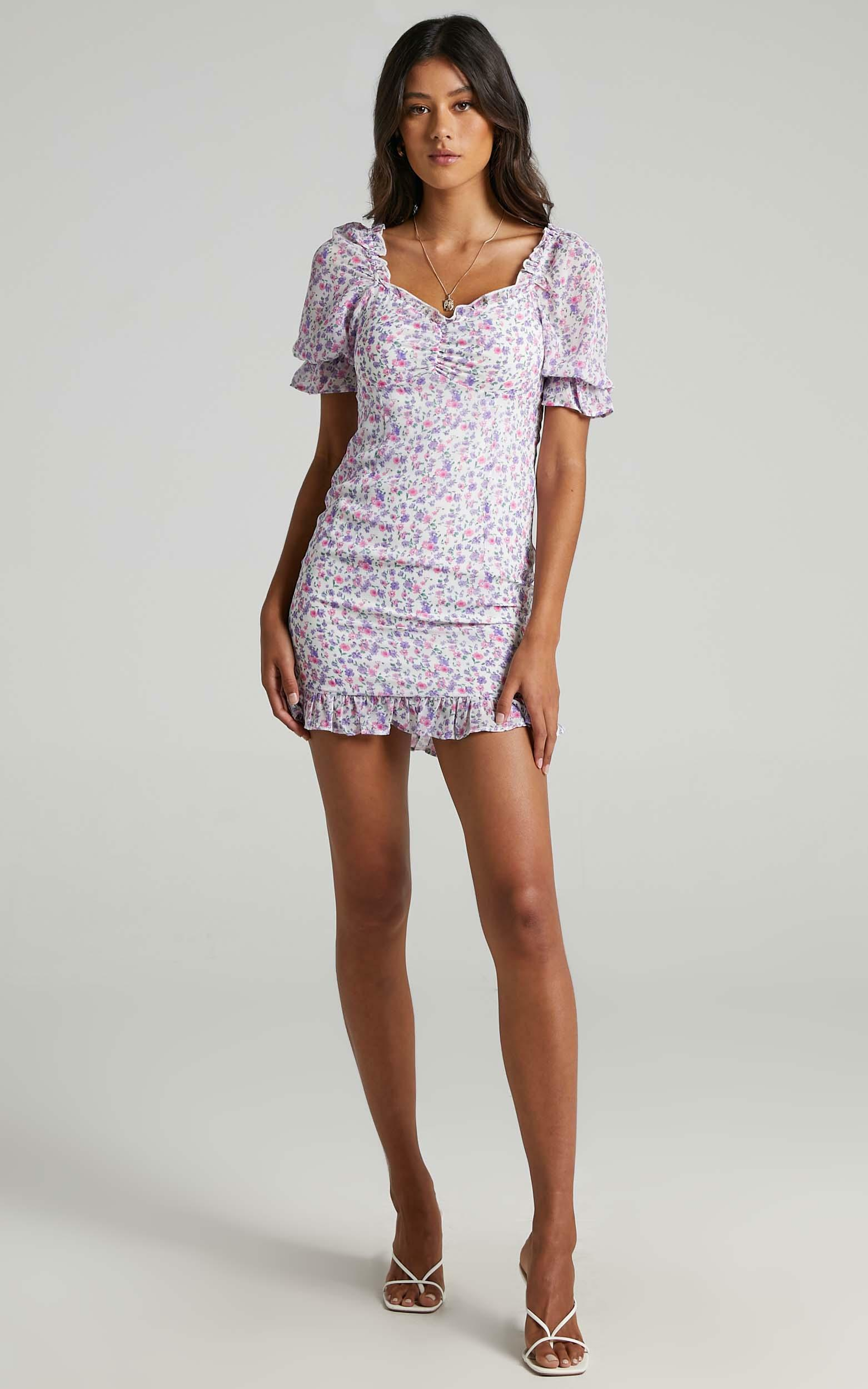 Dawn Dress in Purple Floral - 6 (XS), Purple, hi-res image number null