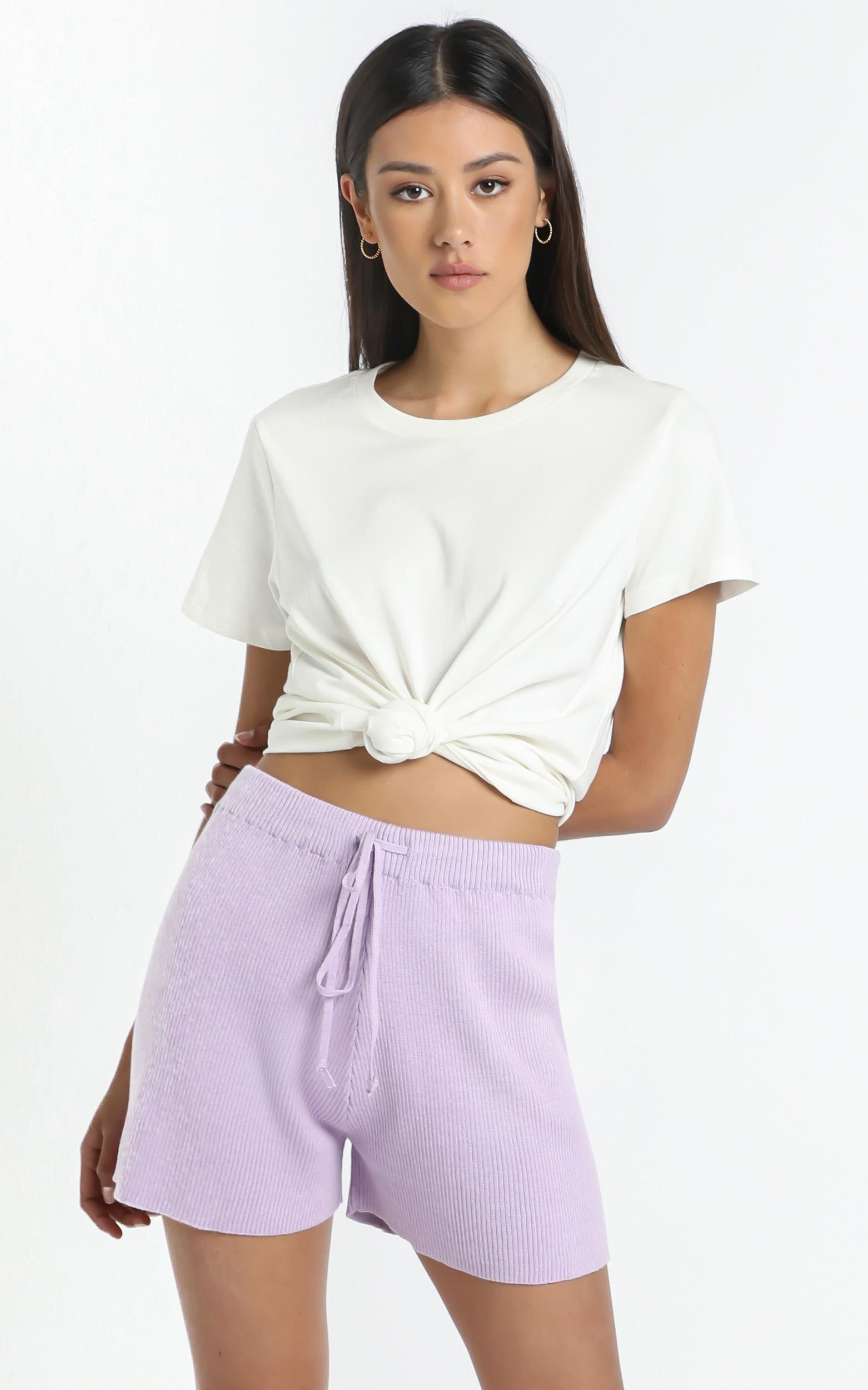Lullaby Club - Alex Knit Shorts in Periwinkle - L/XL, Purple, hi-res image number null