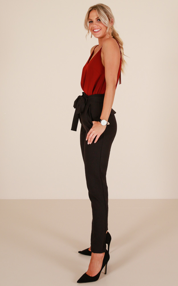 Influence Pants in Black linen look - 6 (XS), Black, hi-res image number null