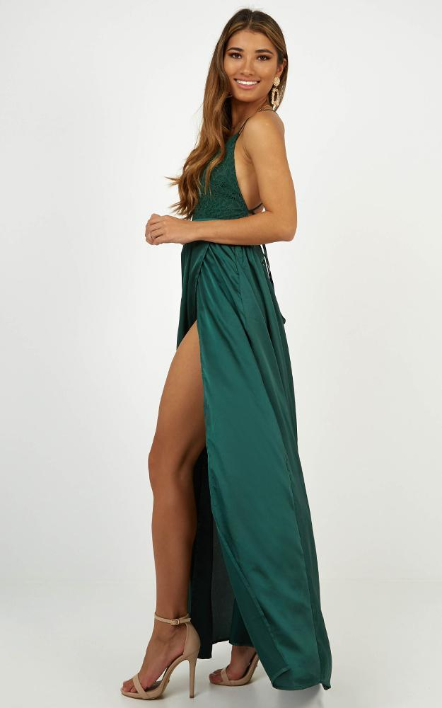Inspired Tribe Maxi Dress In Emerald Satin - 6 (XS), Green, hi-res image number null