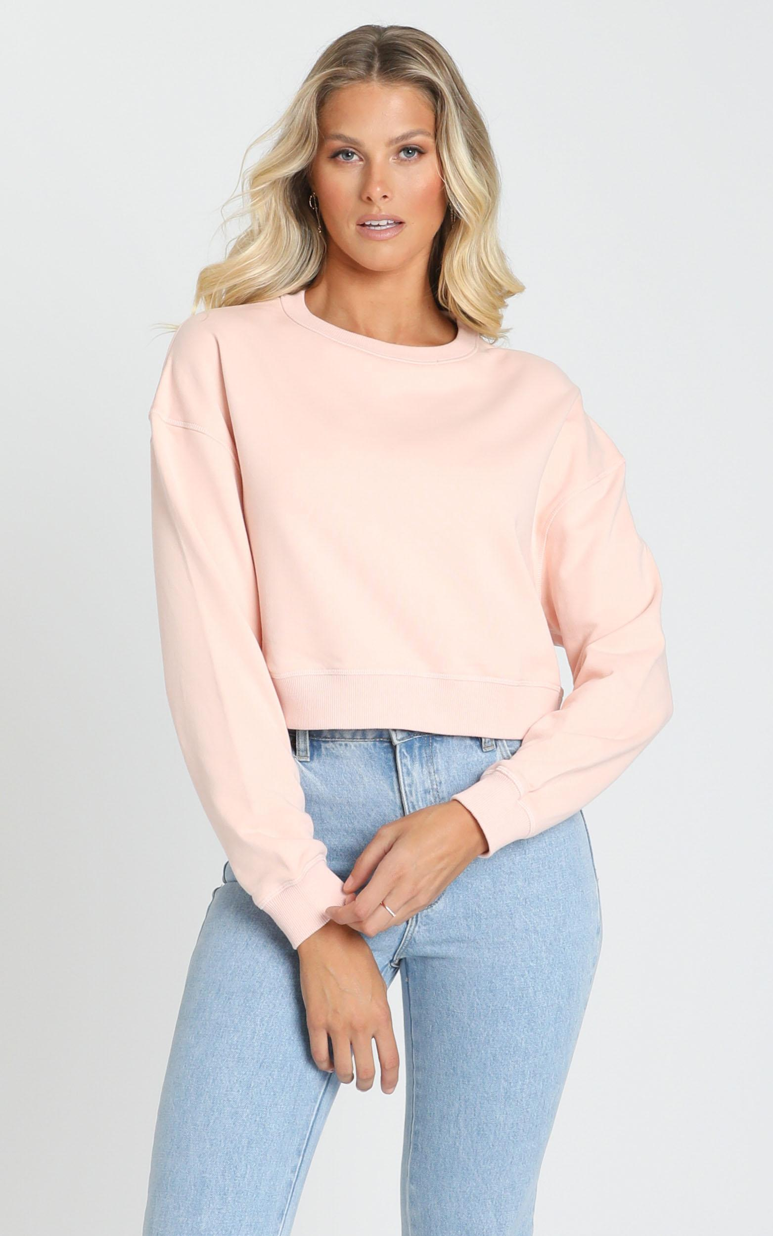 AS Colour - Crop Crew in Pale Pink - XS, Pink, hi-res image number null