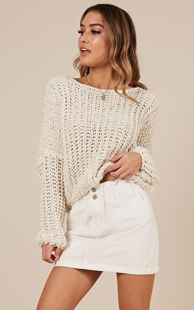 Never You Mind knit sweater in white - M/L, White, hi-res image number null