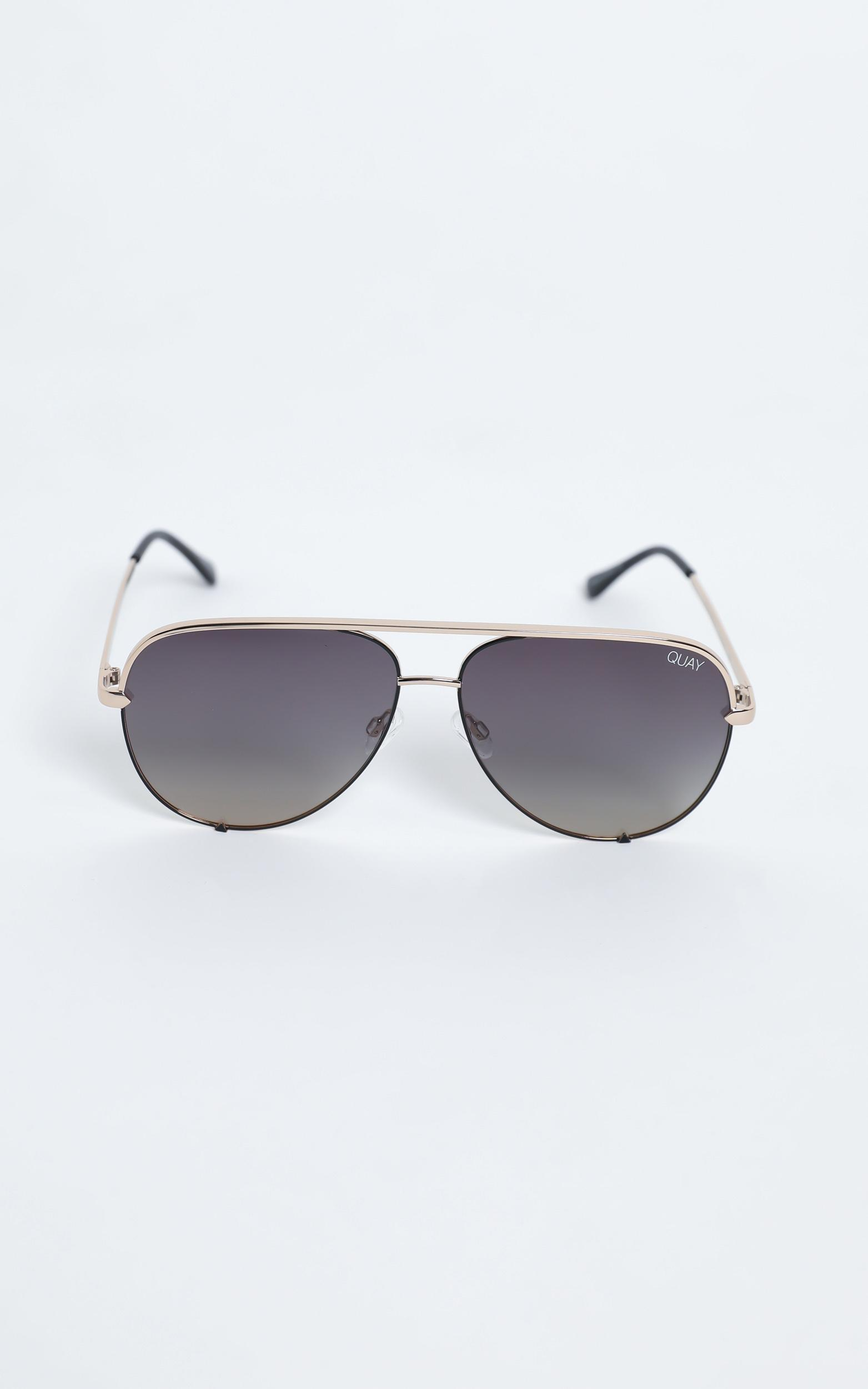 Quay - High Quay Sunglasses in Black Gold / Smoke, , hi-res image number null