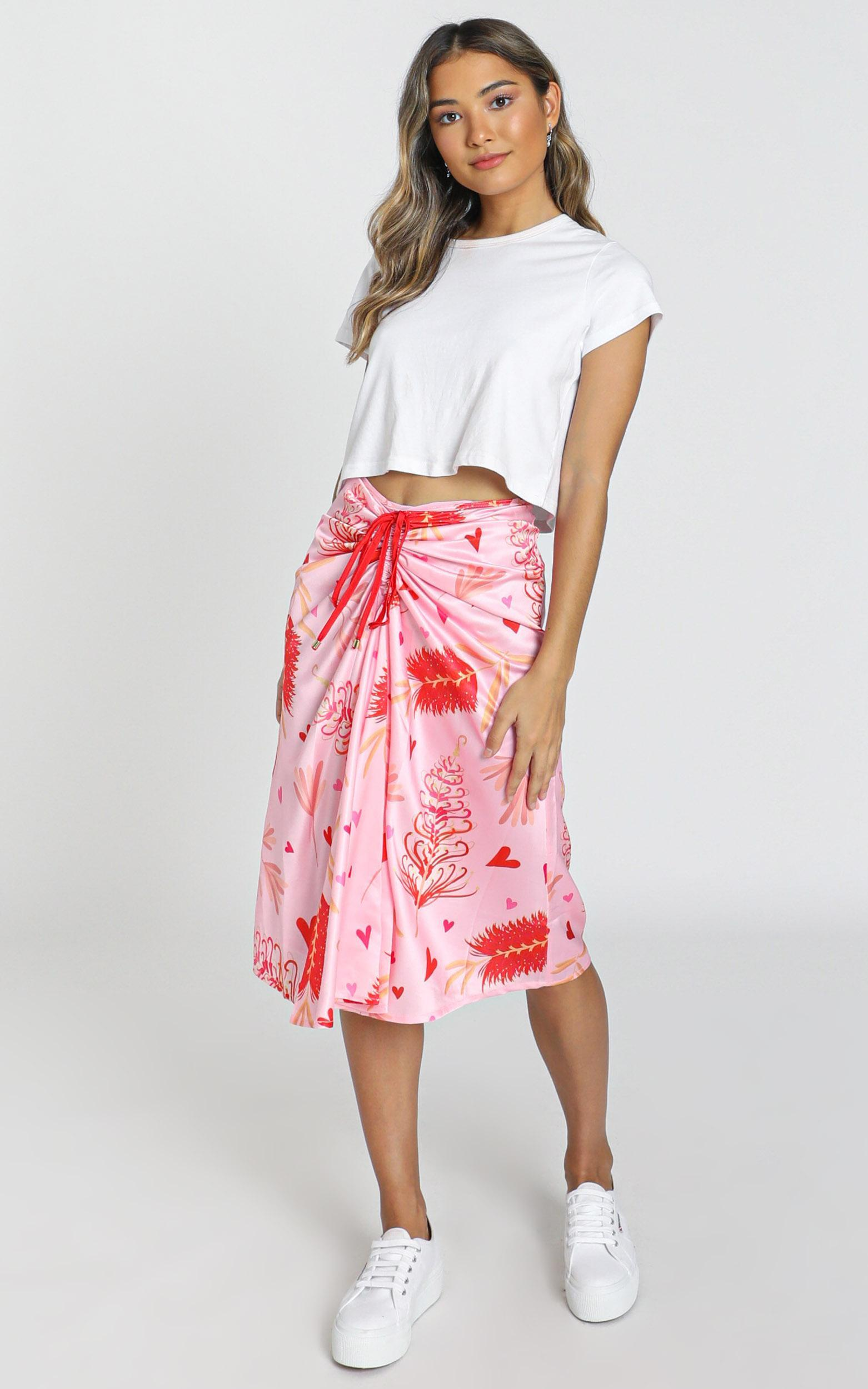 ZYA The Label - Myrtle Magic Skirt in pink print, Pink, hi-res image number null
