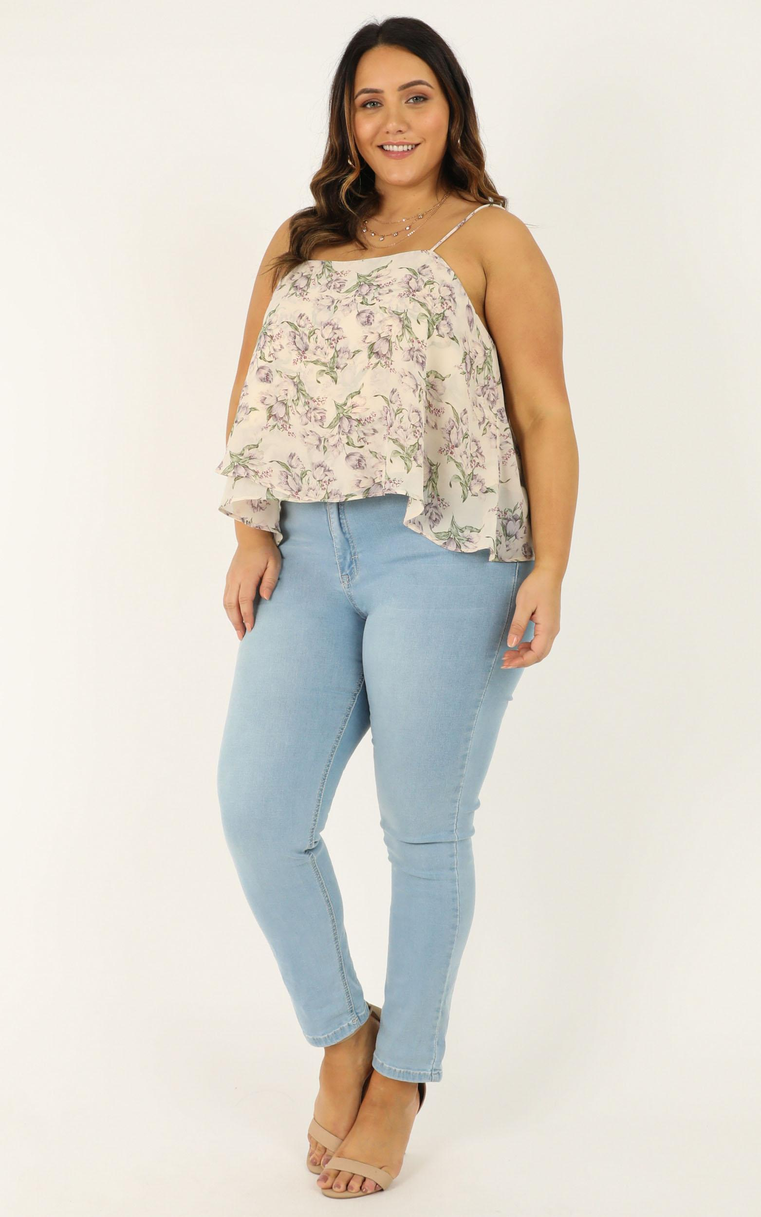 Wanna Be Found Top In cream floral - 12 (L), Cream, hi-res image number null