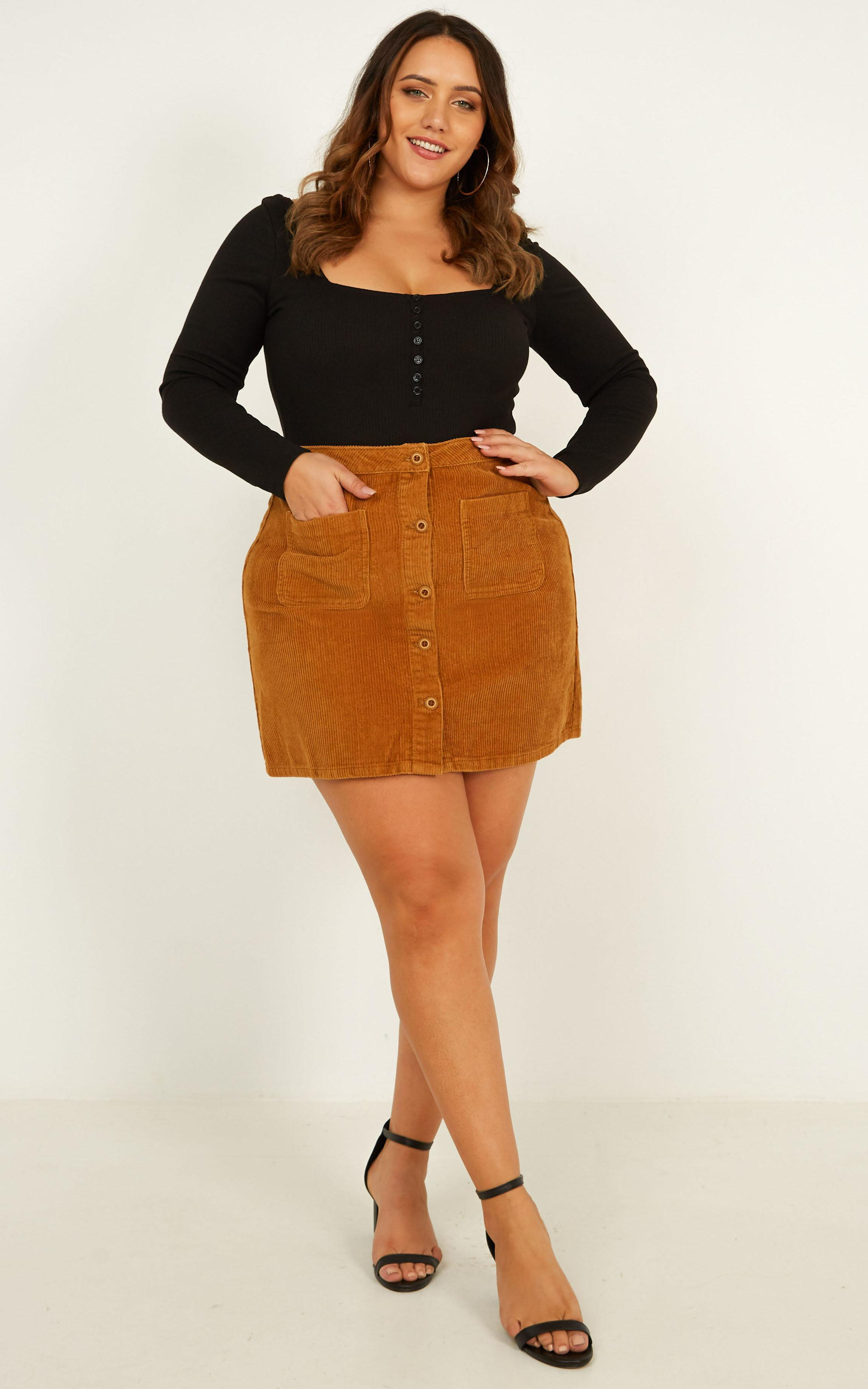 Cant Help You Skirt in tan cord - 14 (XL), Tan, hi-res image number null