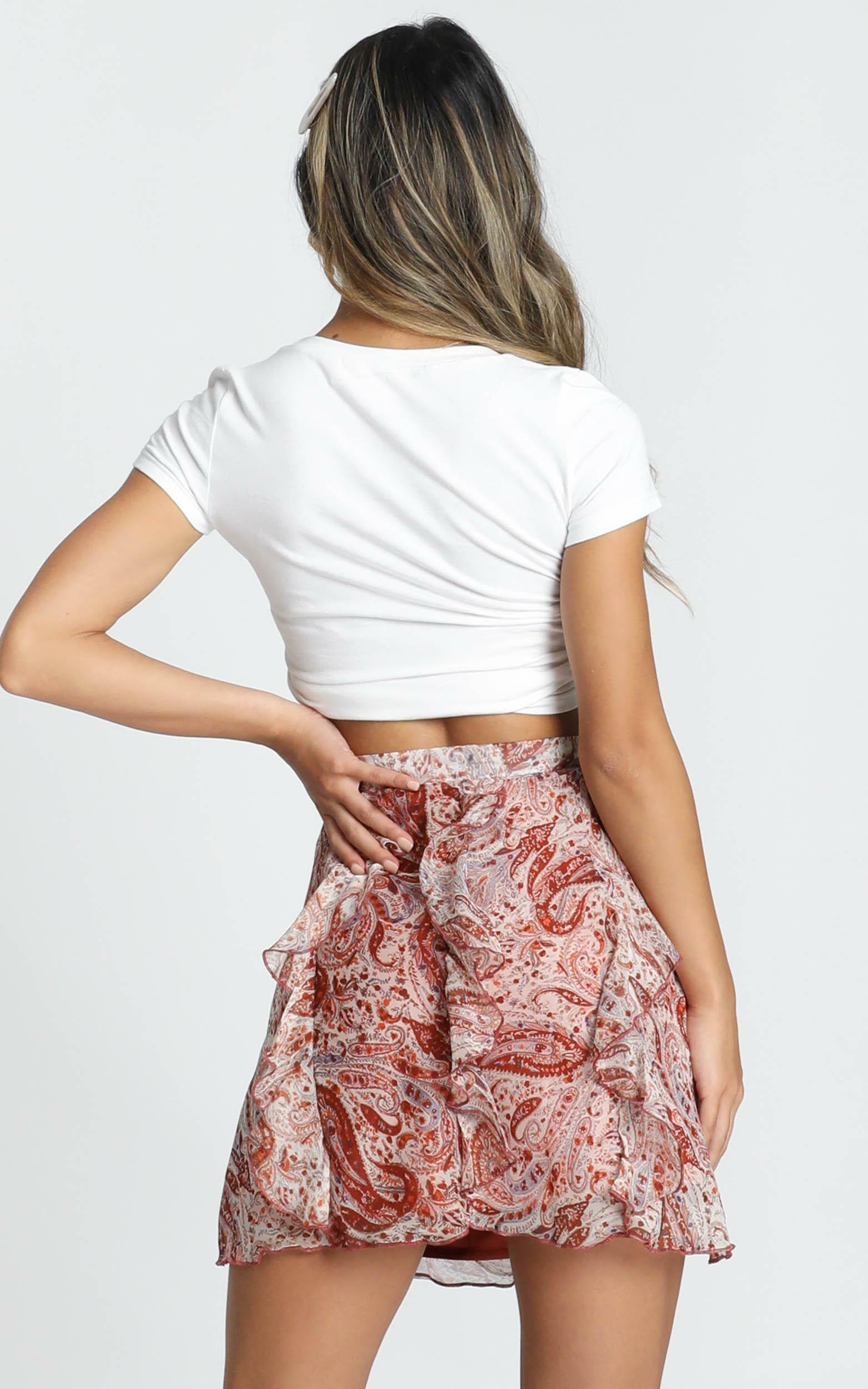 Just Go With Me skirt in rust paisley - 20 (XXXXL), Rust, hi-res image number null