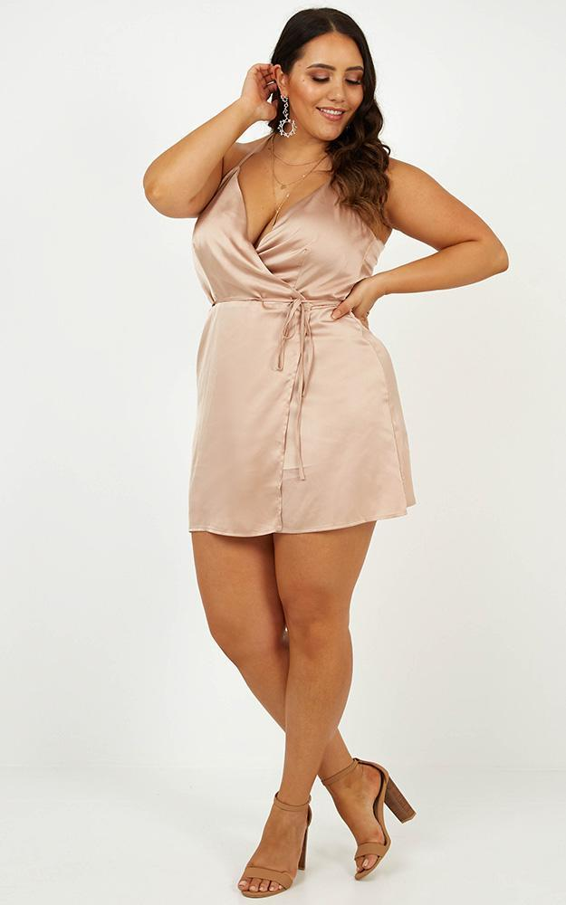 All Things Nice Dress In mocha satin - 20 (XXXXL), Mocha, hi-res image number null