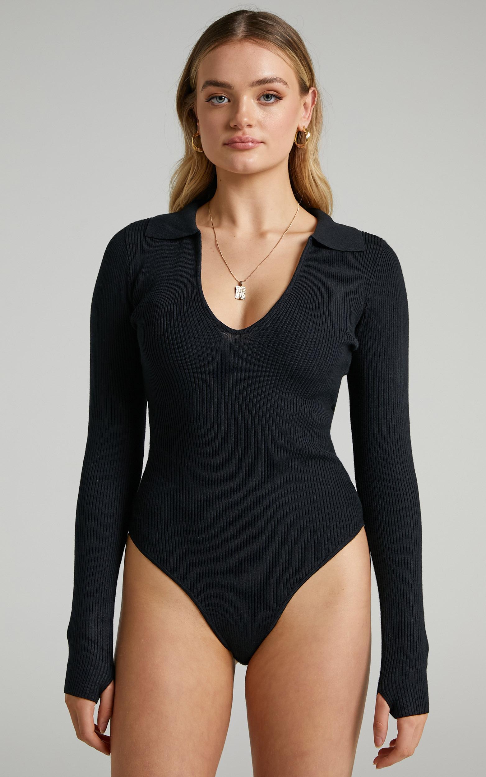 Coco V Neck Bodysuit in Black - 06, BLK1, hi-res image number null