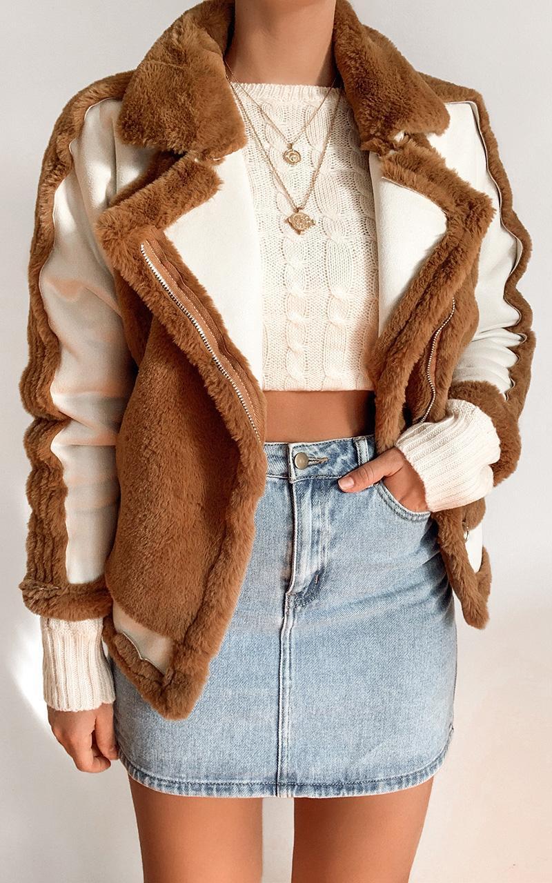 Layering Love Faux Fur Panel Jacket in tan - 8 (S), Tan, hi-res image number null