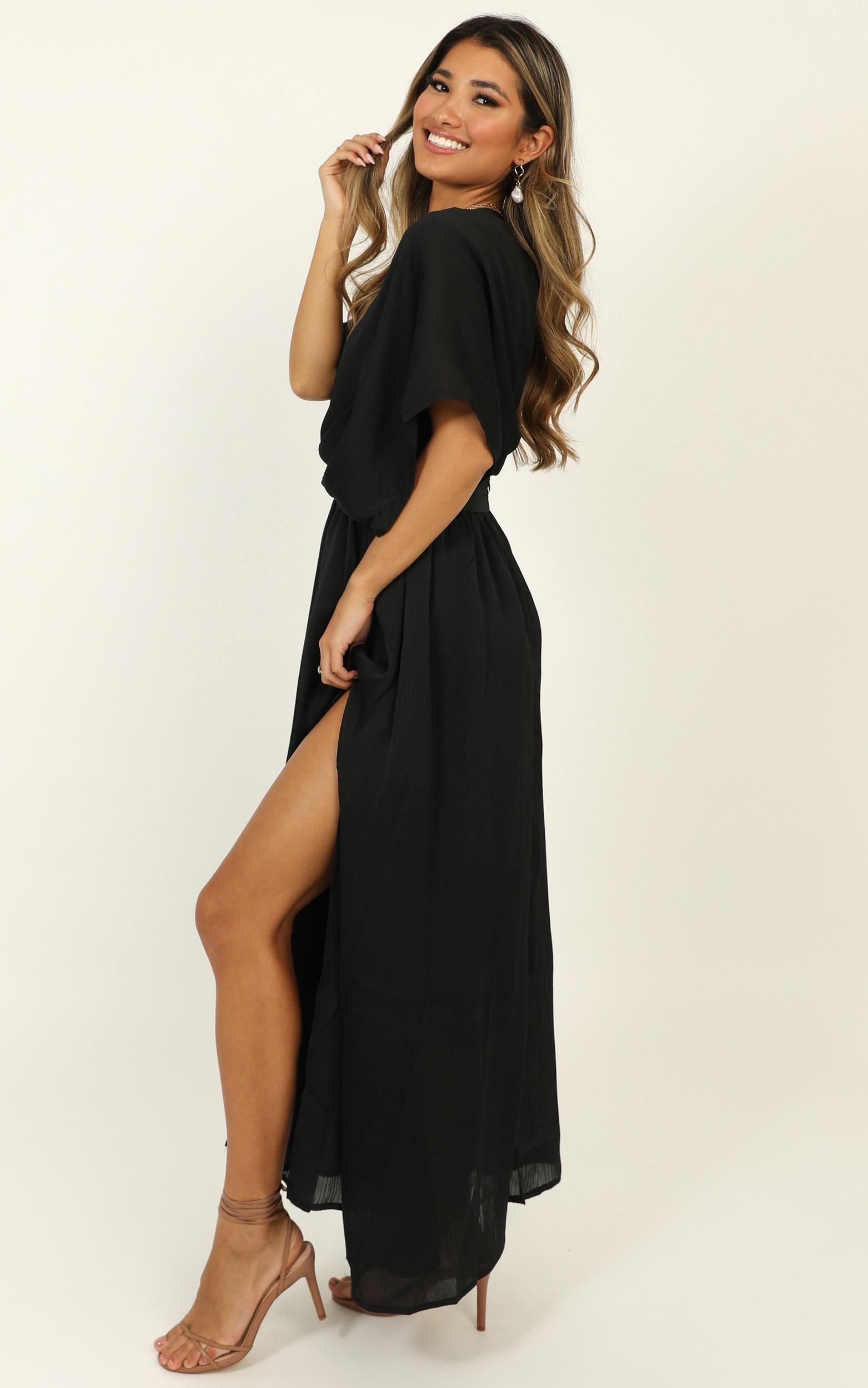 Save It For Later Dress In black satin - 14 (XL), Black, hi-res image number null