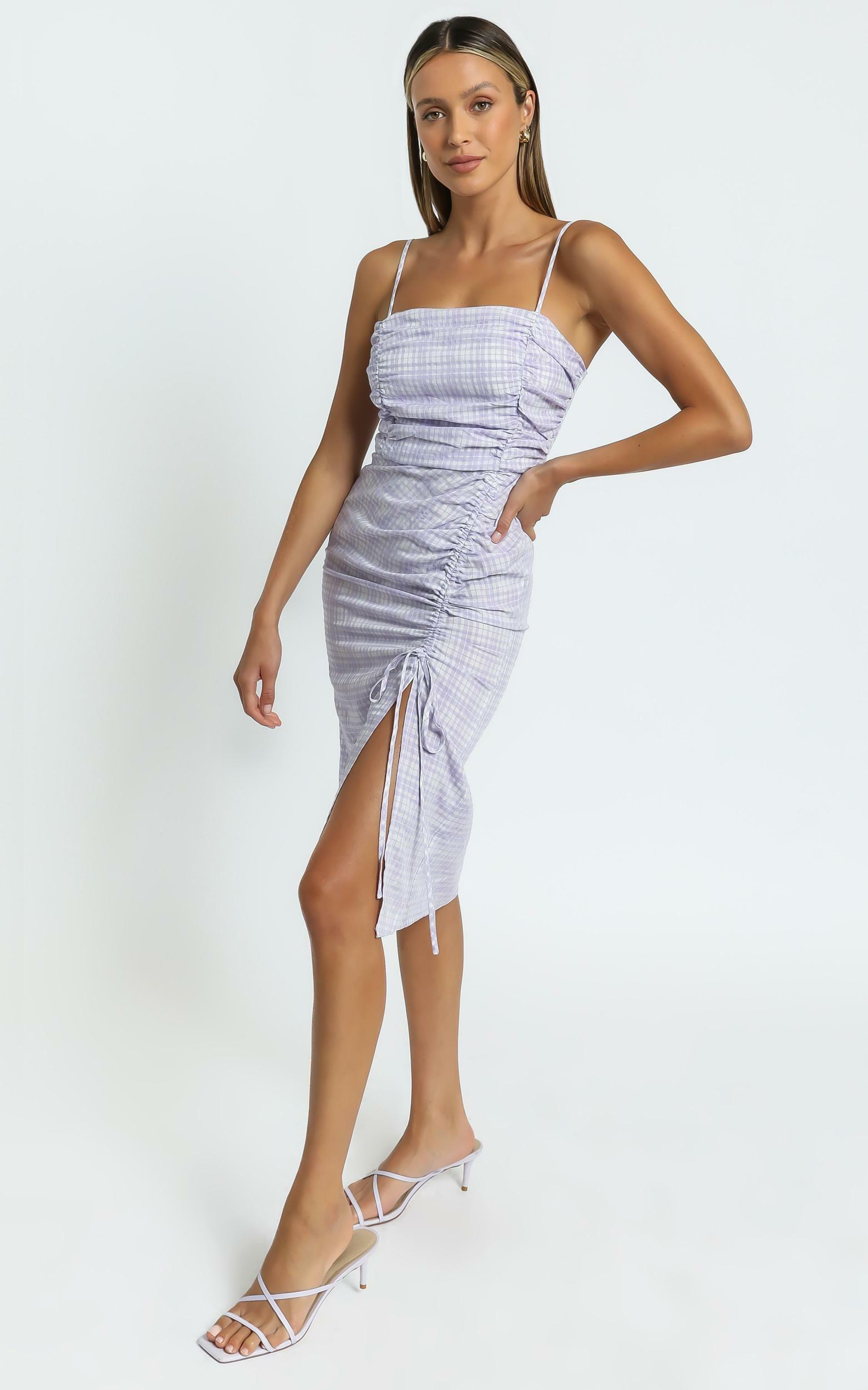 Elixir Dress in Purple Check - 6 (XS), Purple, hi-res image number null