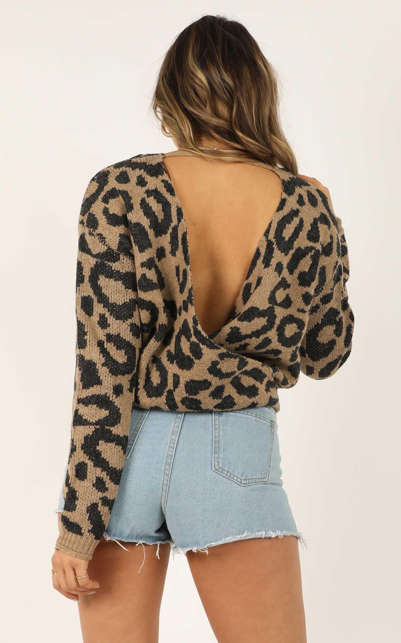 Feels Right knit jumper in leopard print - 12 (L), Brown, hi-res image number null