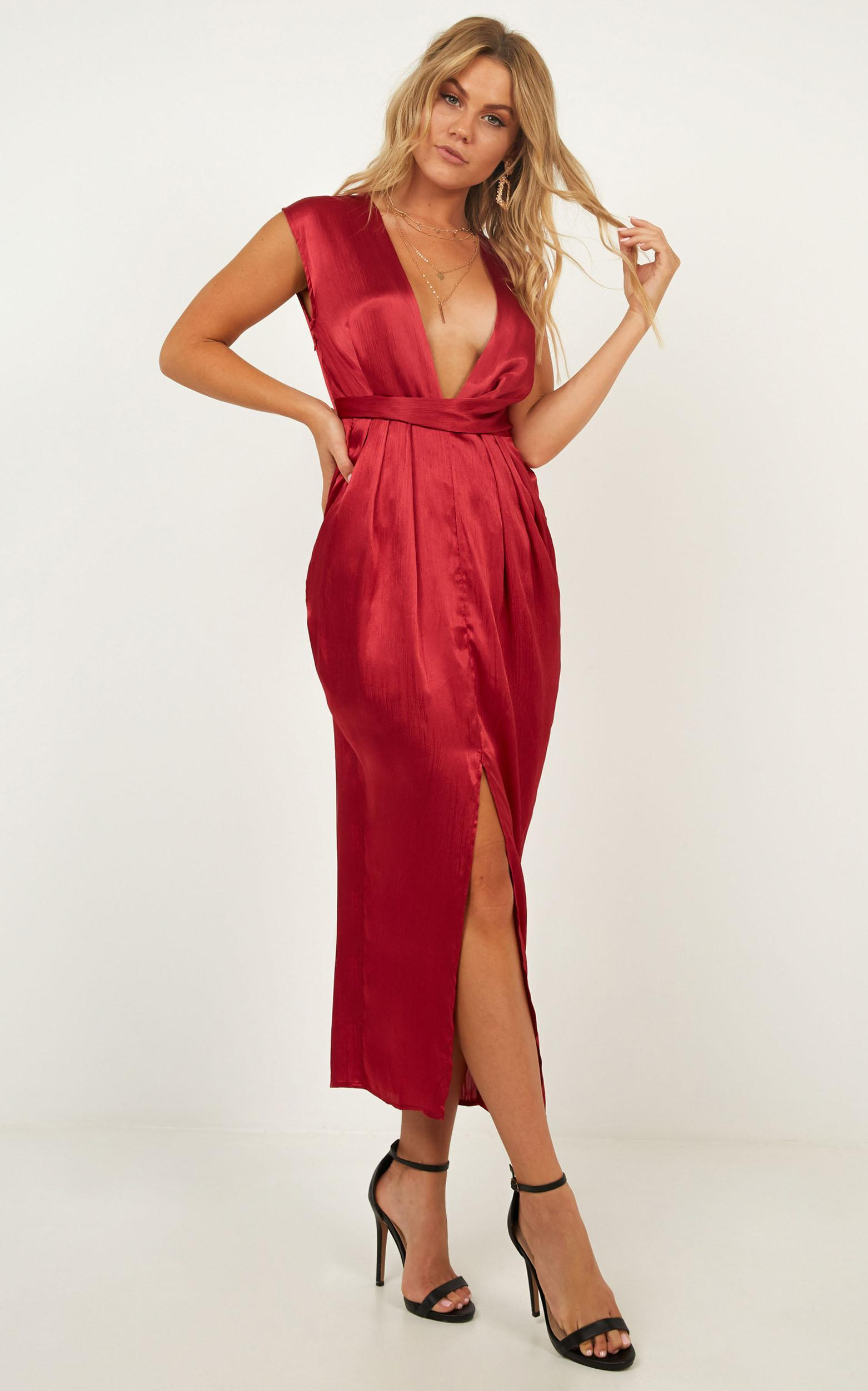 Dream Simply Dress in wine satin, Wine, hi-res image number null