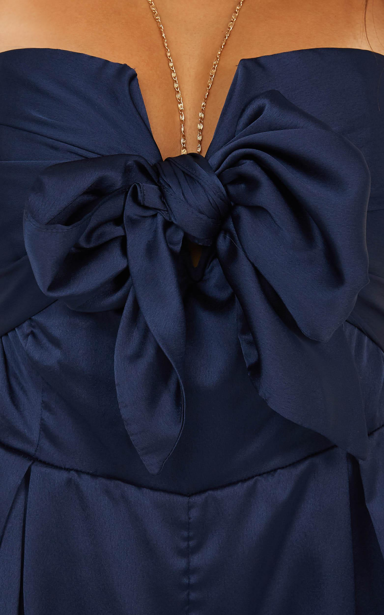 Under The Spotlight playsuit in navy satin - 12 (L), Navy, hi-res image number null