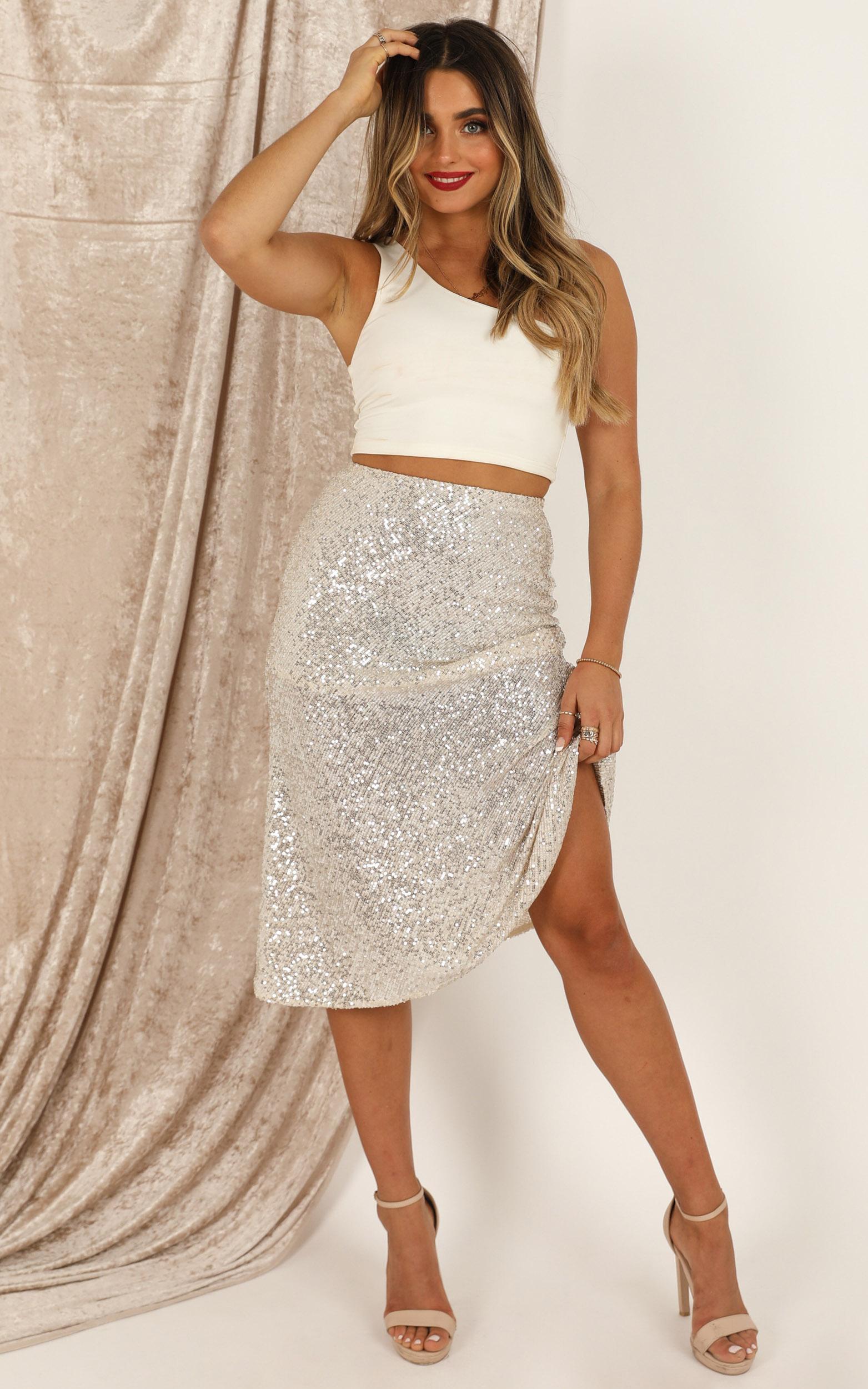 Sparkle For Days skirt in cream glitter - 12 (L), Cream, hi-res image number null