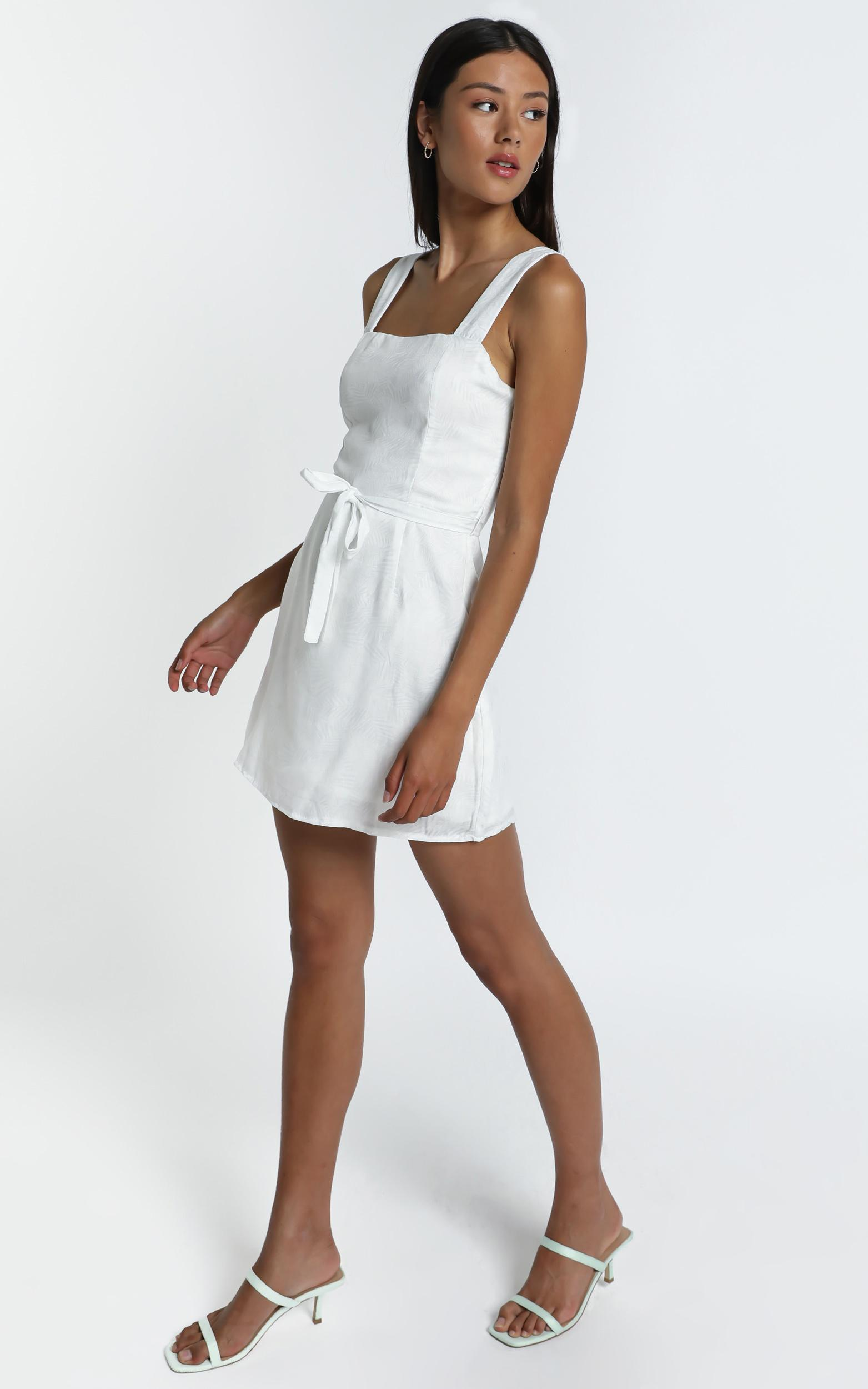 Ronan Dress in White Palm - 6 (XS), White, hi-res image number null