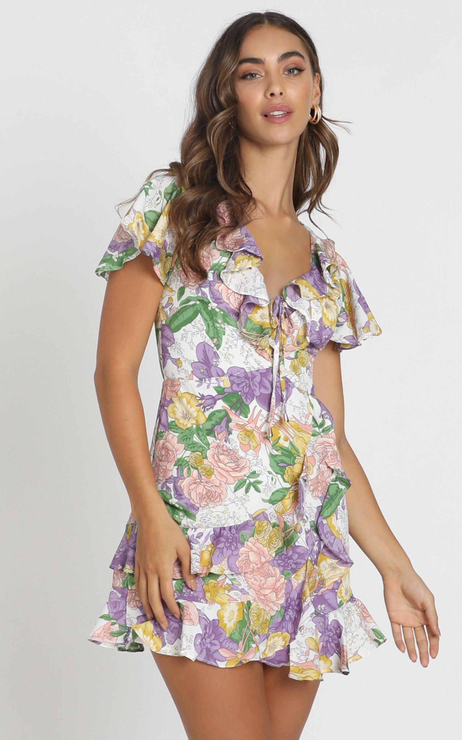 Violet Mini Dress in purple floral - 6 (XS), Purple, hi-res image number null