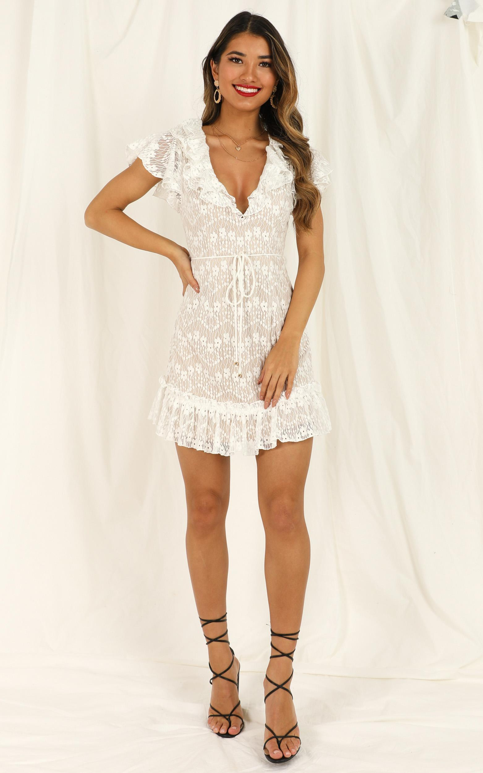 Thanks A lot Dress in white lace - 12 (L), White, hi-res image number null