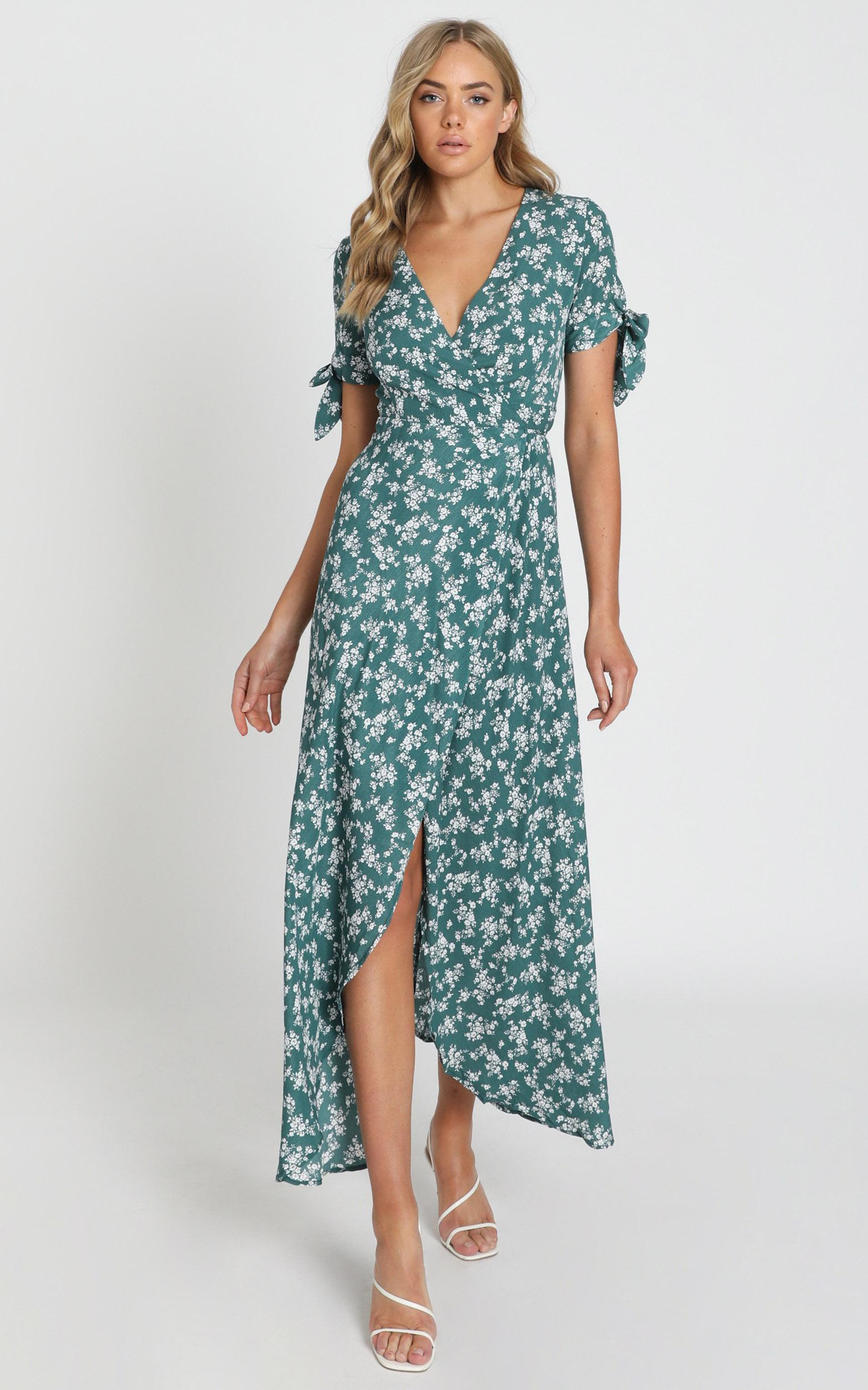 Picking it up Maxi Wrap dress in teal floral - 6 (XS), Green, hi-res image number null