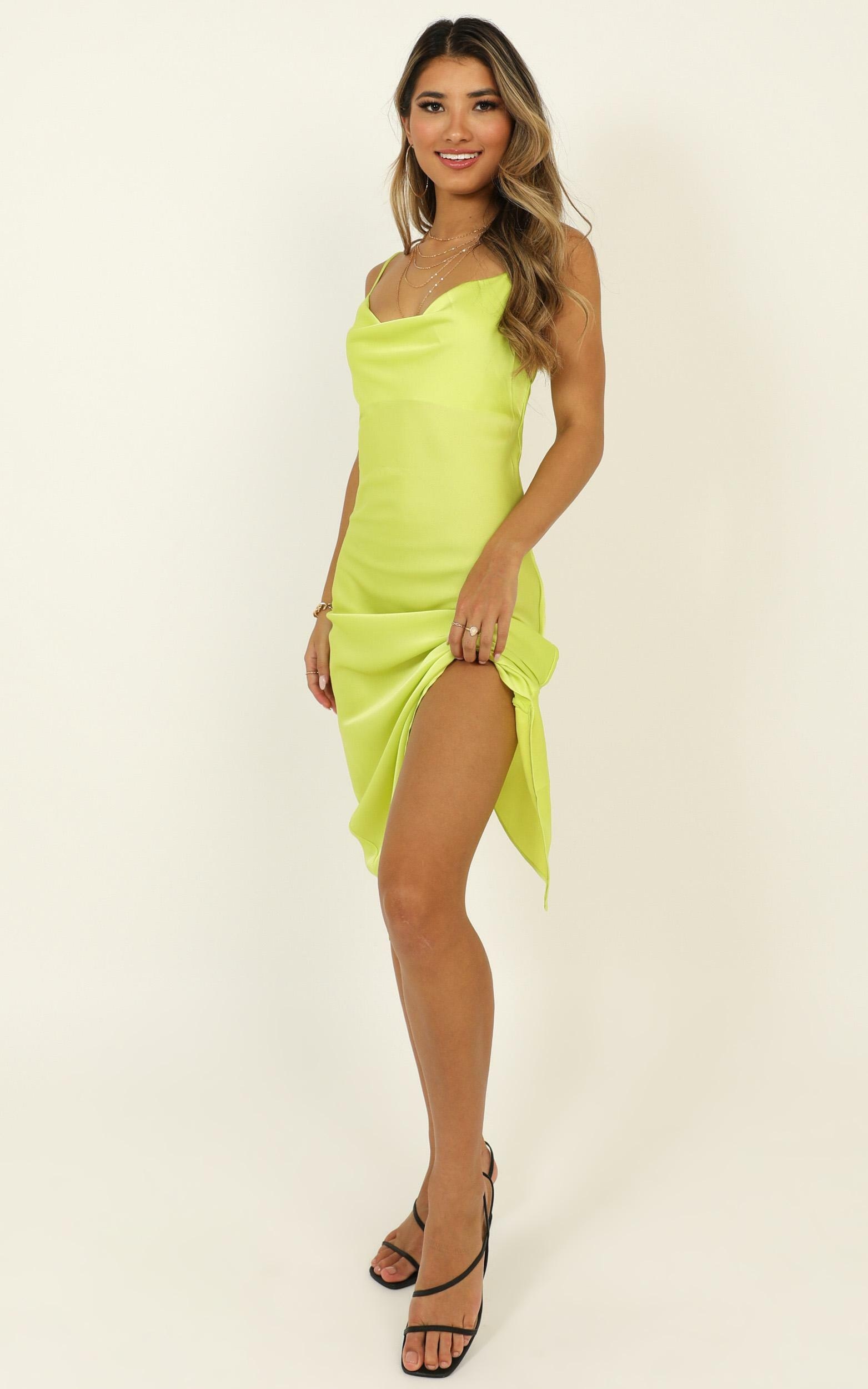 Before The Storm Dress In Lime Green Satin - 14 (XL), Green, hi-res image number null