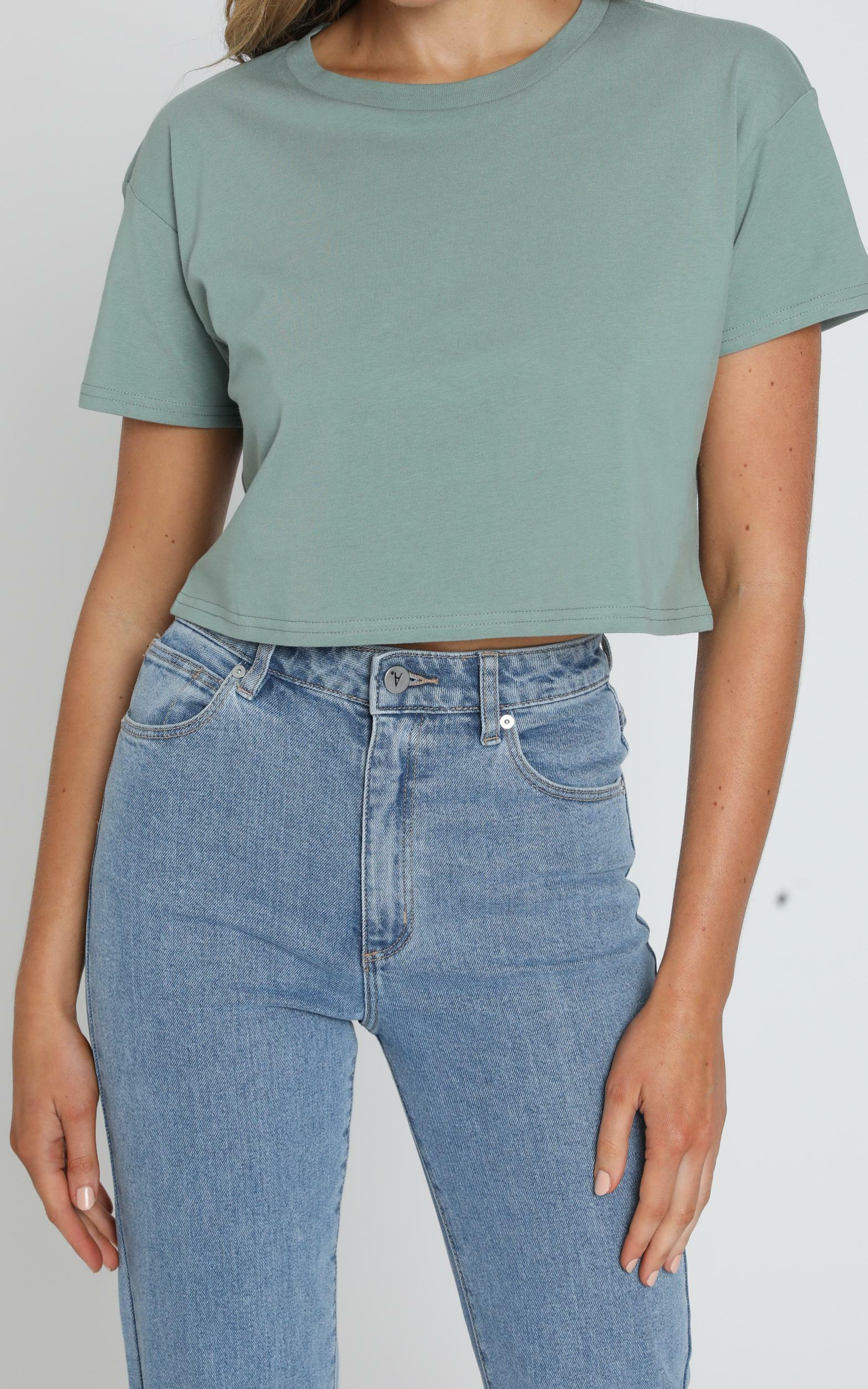 AS Colour - Crop Tee in Sage - XS, Sage, hi-res image number null