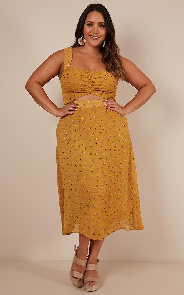 No Tricks Two Piece Set in mustard floral - 12 (L), Mustard, hi-res image number null