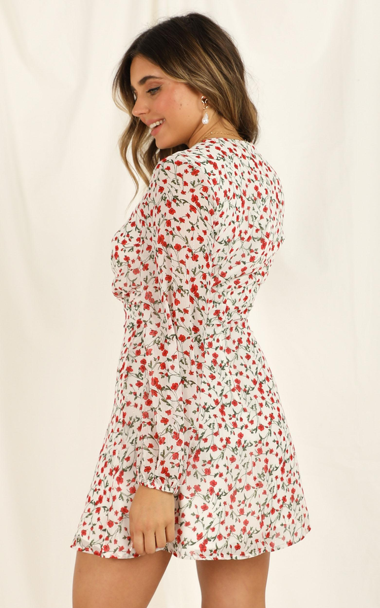 Lace Me Up Dress in white floral - 20 (XXXXL), White, hi-res image number null