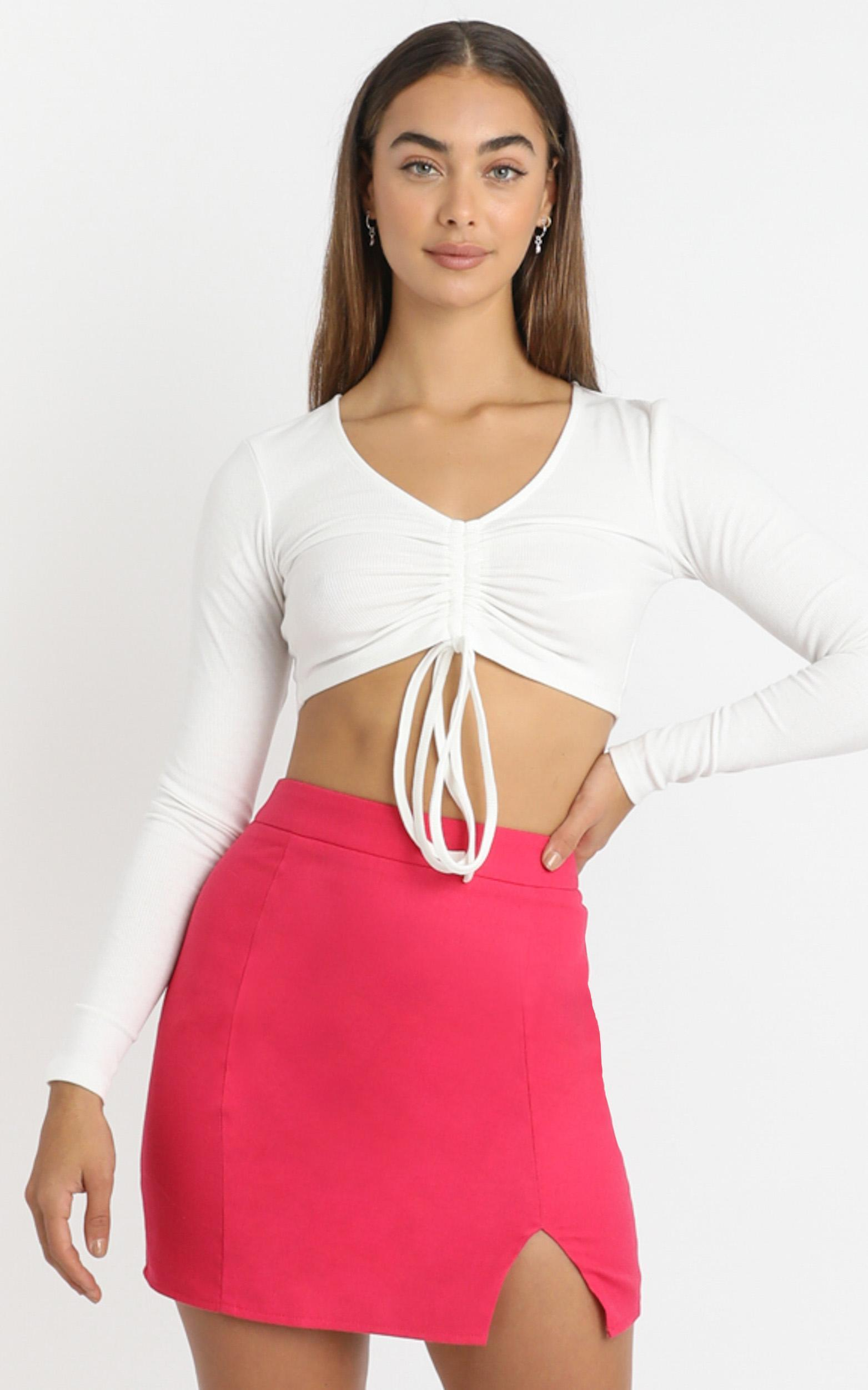 International Babe Skirt In hot pink linen look - 4 (XXS), Pink, hi-res image number null
