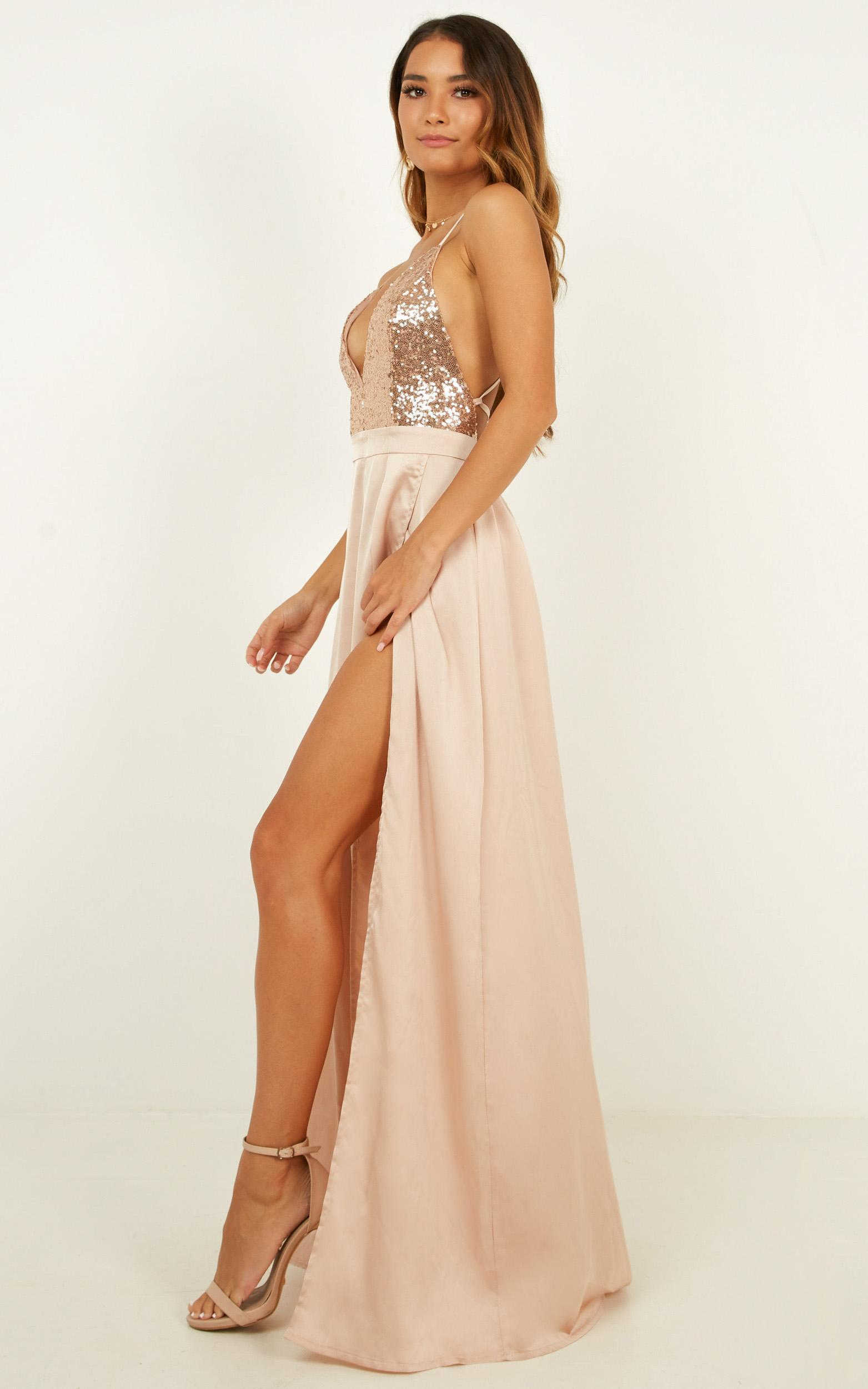 Looking Smart Maxi Dress in rose gold sequin - 14 (XL), Rose Gold, hi-res image number null