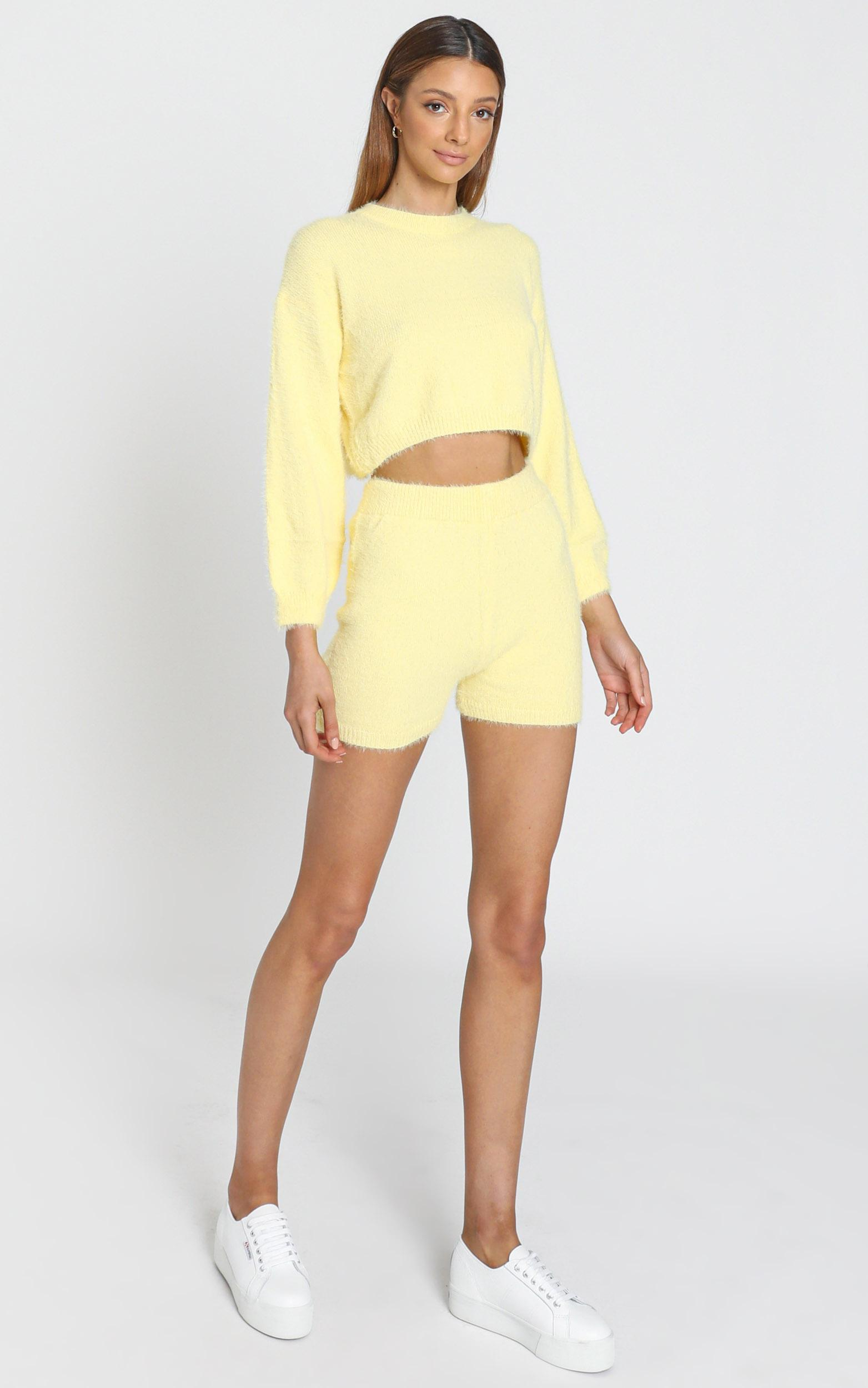 Loretta Fluffy Knit Two Piece Set in Yellow - S, Yellow, hi-res image number null