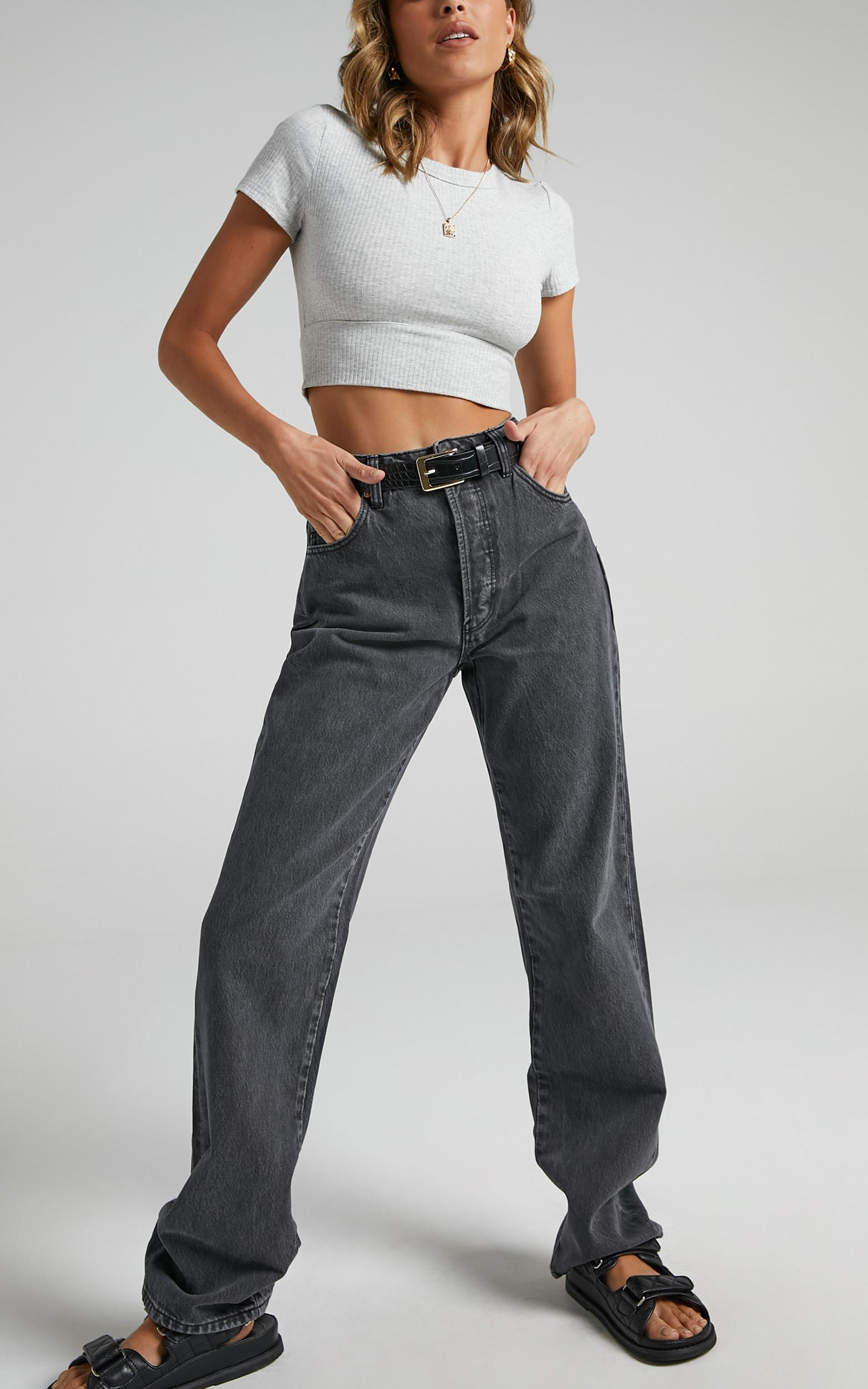Rollas - Classic Straight Jean in Vintage Black - 6 (XS), Black, hi-res image number null