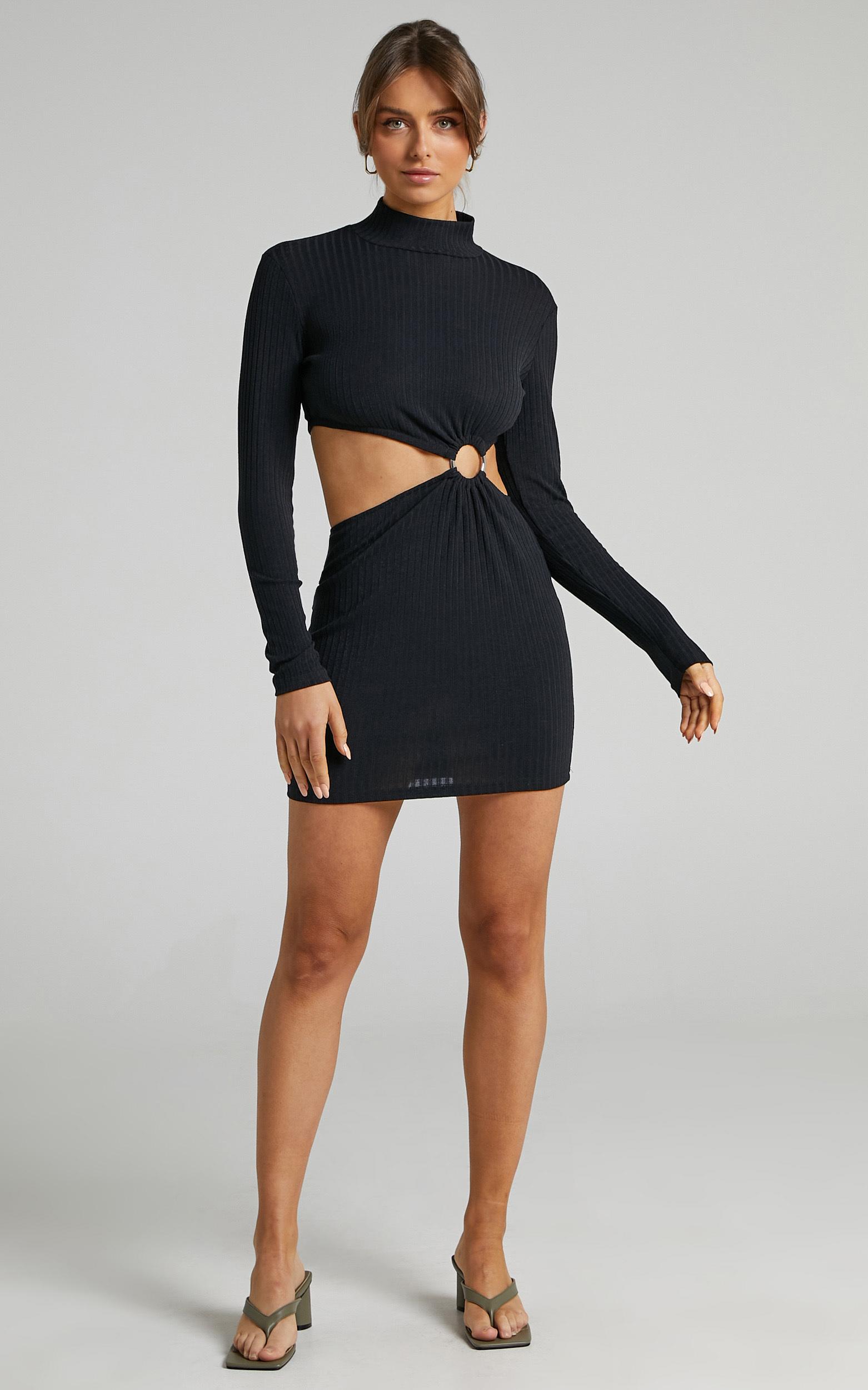 Binda Cut Out Long Sleeve Mini Dress in Black - 06, BLK1, hi-res image number null