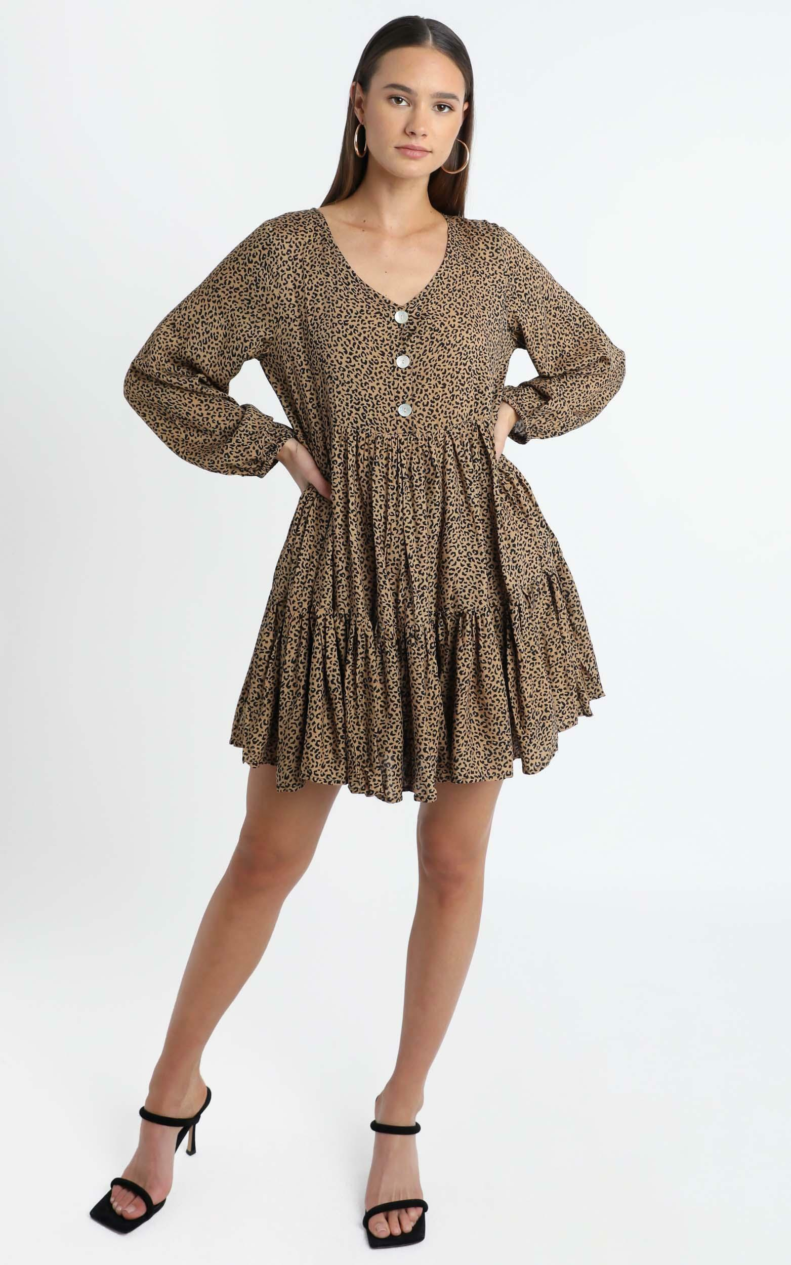 Chester Dress in Leopard Print - 14 (XL), Brown, hi-res image number null