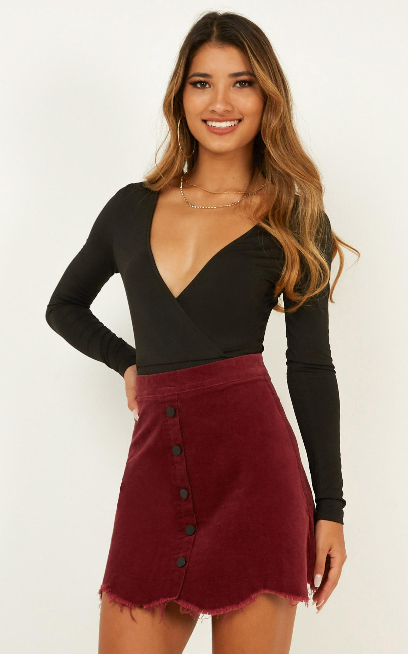 All Good Reasons skirt in wine cord, Wine, hi-res image number null