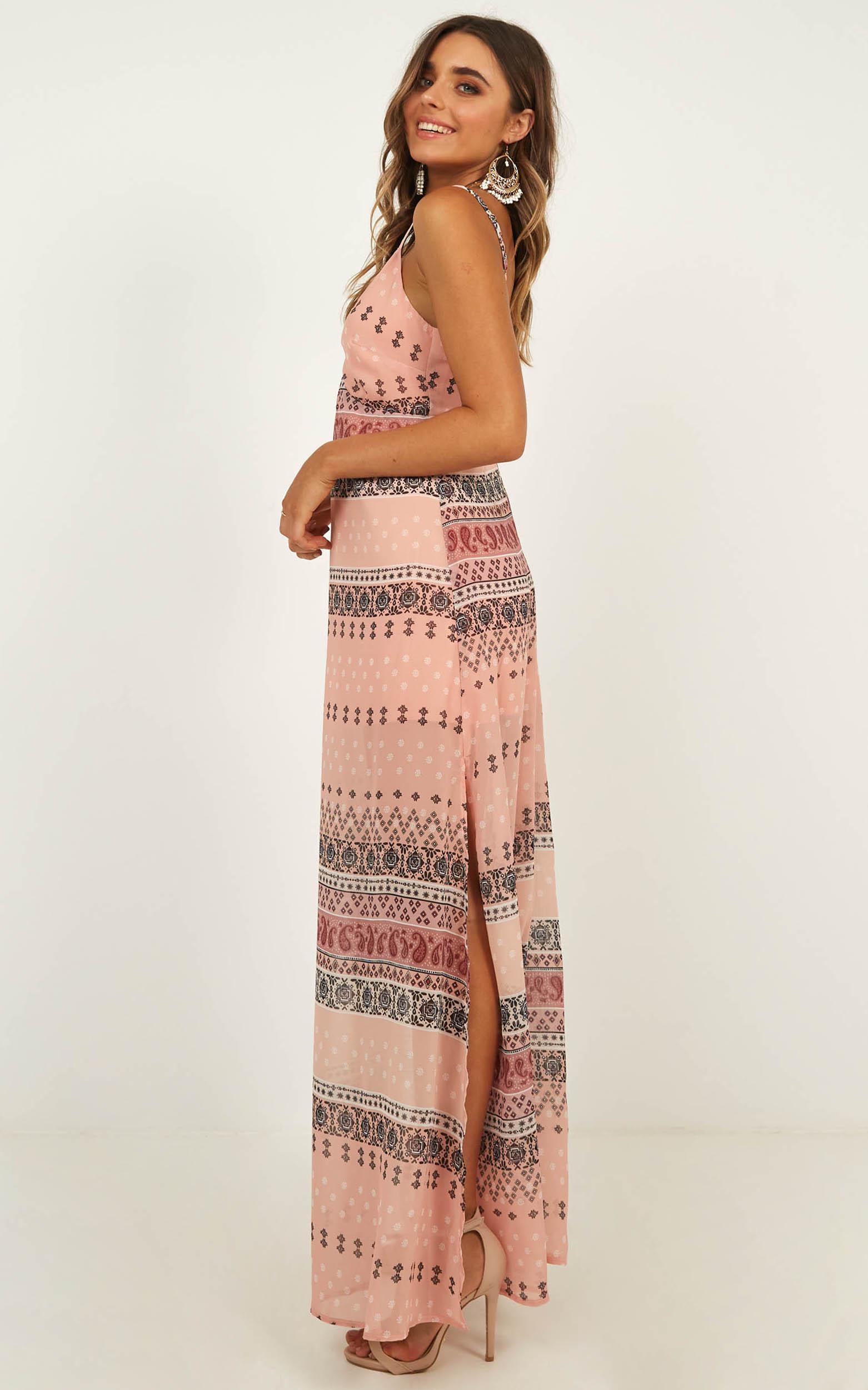 Careless Fun Maxi Dress in boho print - 12 (L), Beige, hi-res image number null