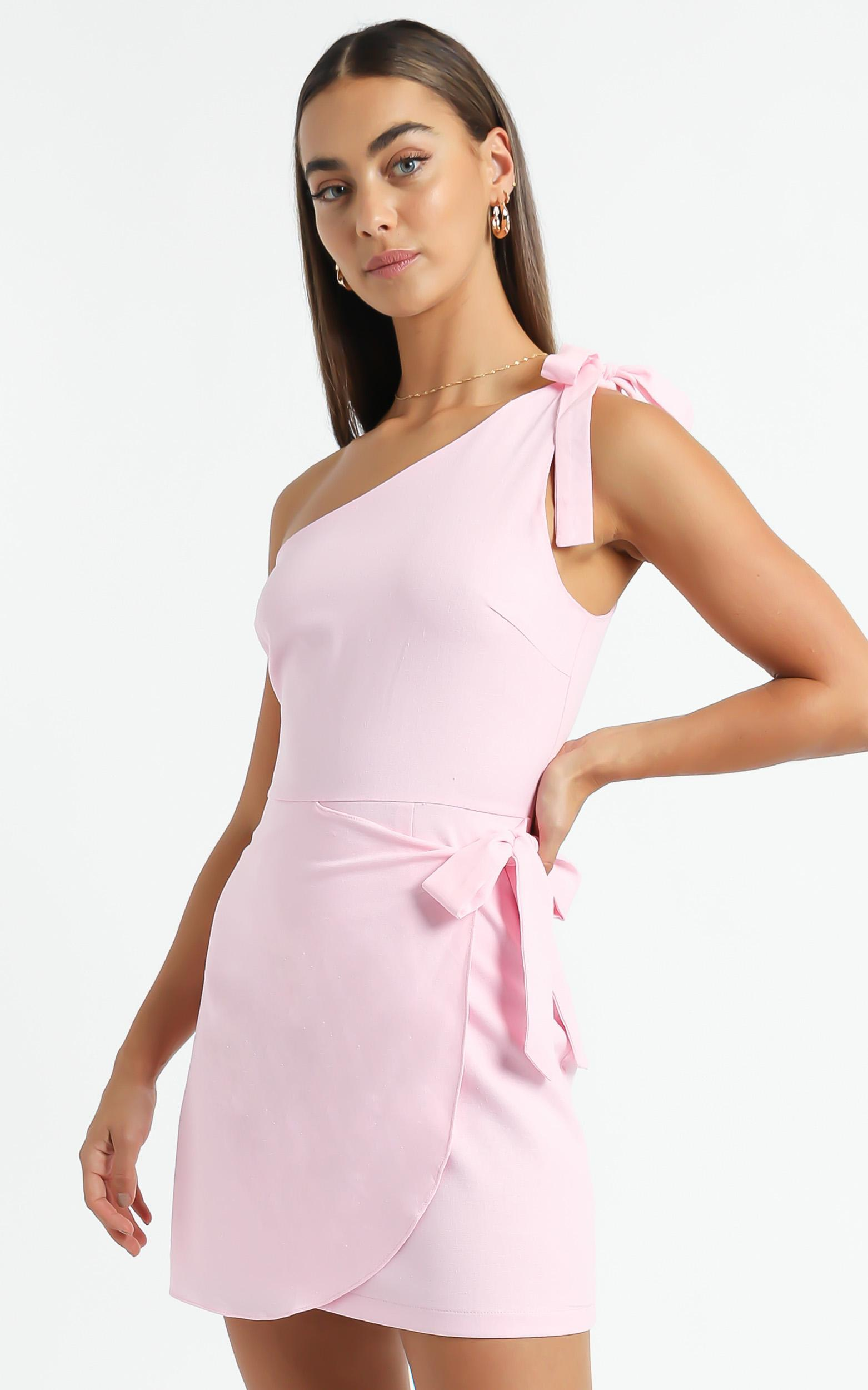Keeping It Together Dress in Pink Linen Look - 06, PNK3, hi-res image number null